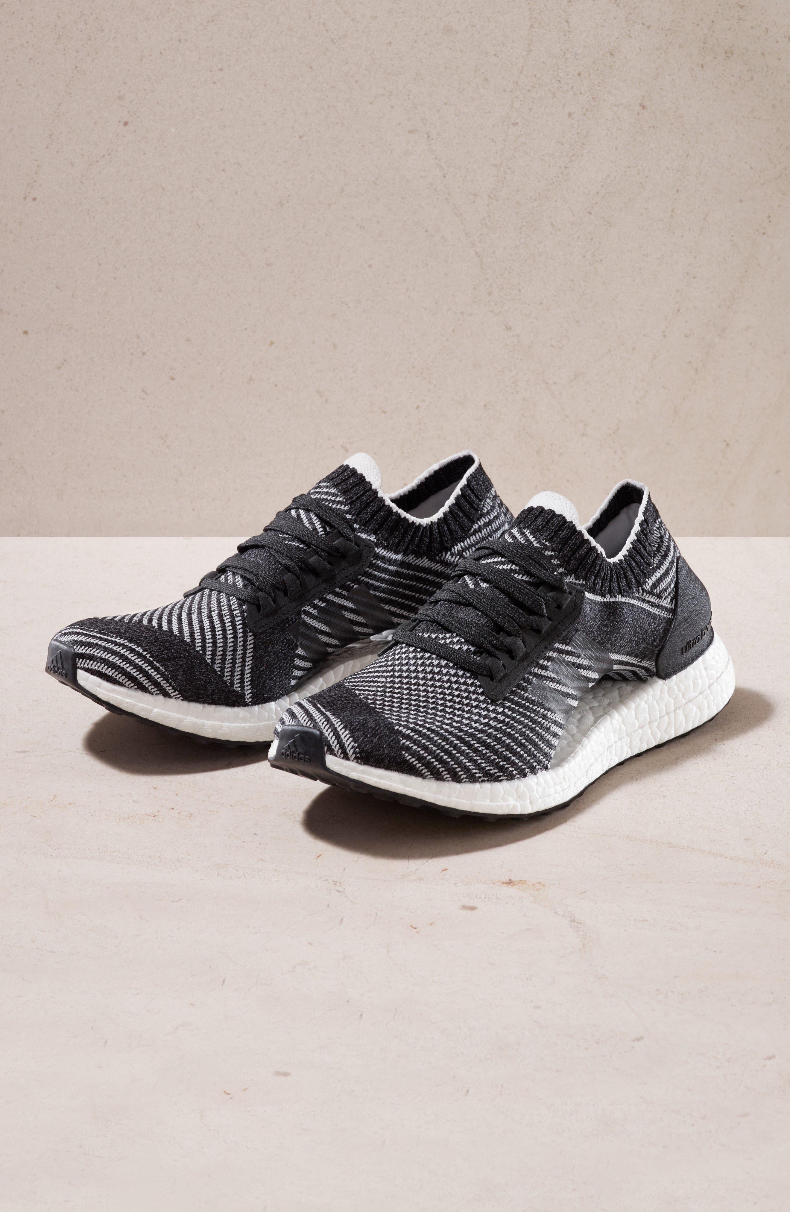 UltraBoost X Running Shoe,                             Alternate thumbnail 6, color,                             WHITE/ BLACK/ SHOCK PINK