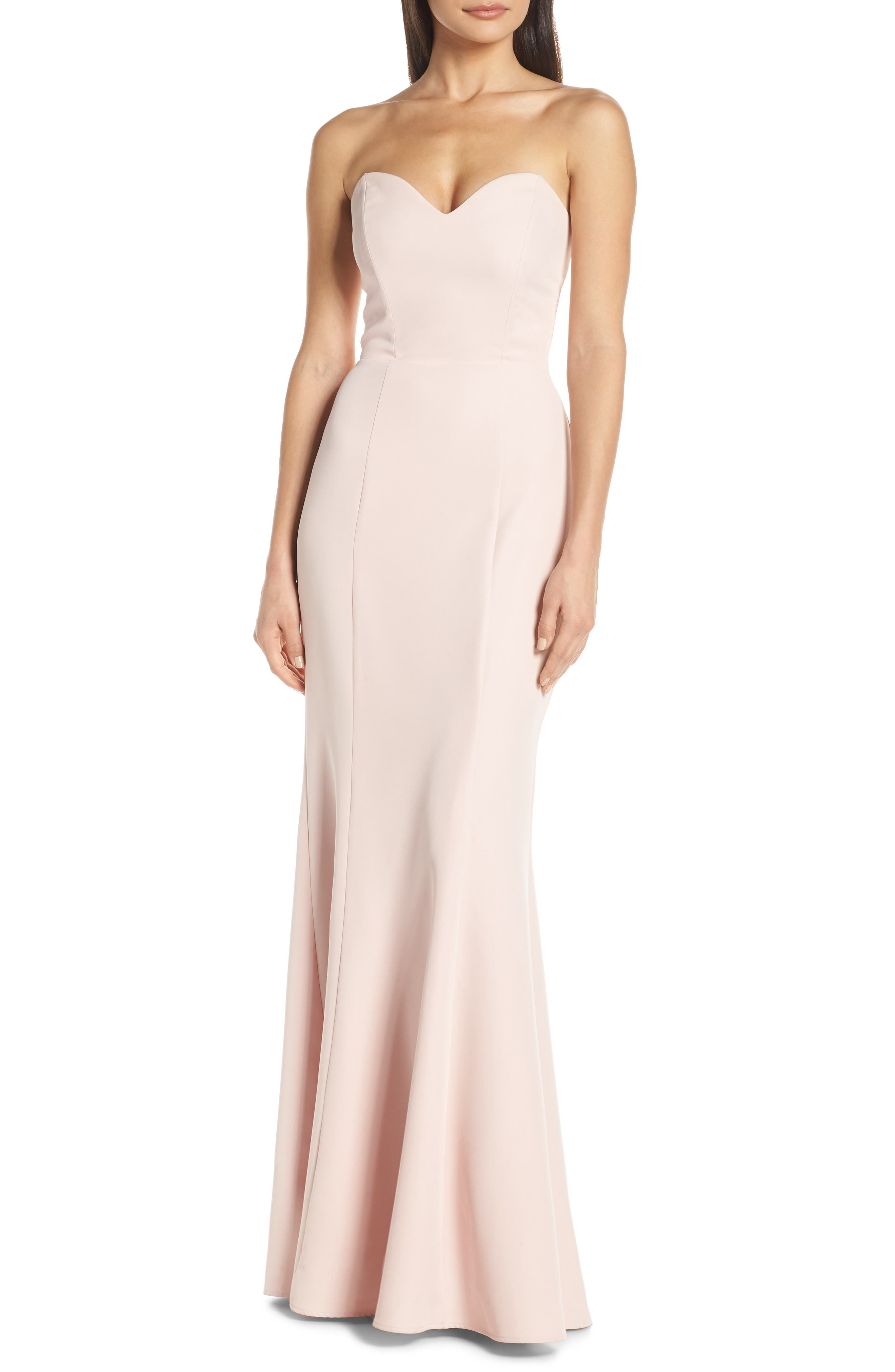 Wayf The Mia Lace-Up Back Evening Dress, Pink