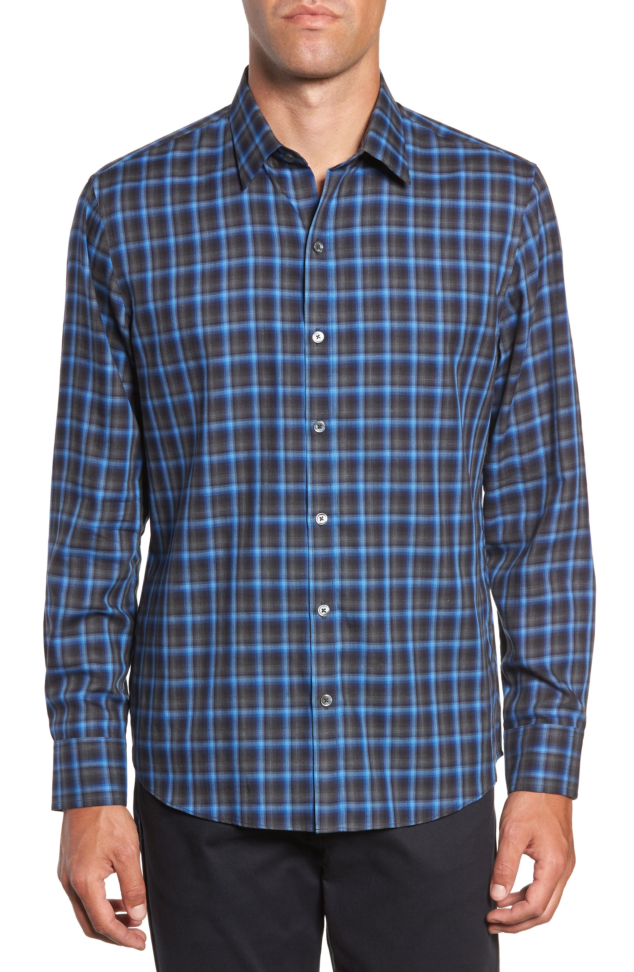 ZACHARY PRELL Danise Regular Fit Check Sport Shirt, Main, color, ROYAL BLUE