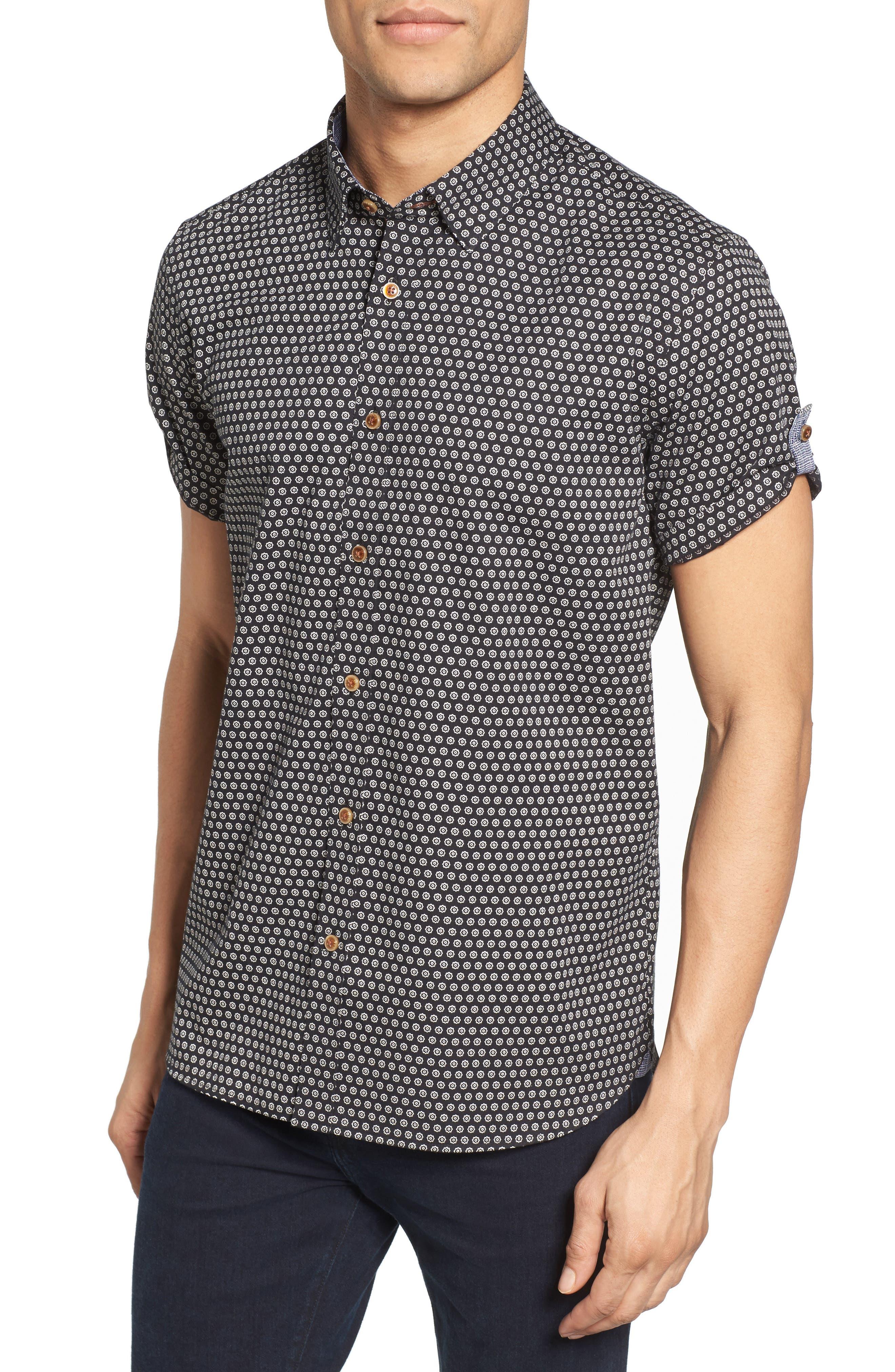 Braaks Extra Slim Fit Flower Print Sport Shirt,                         Main,                         color, 001