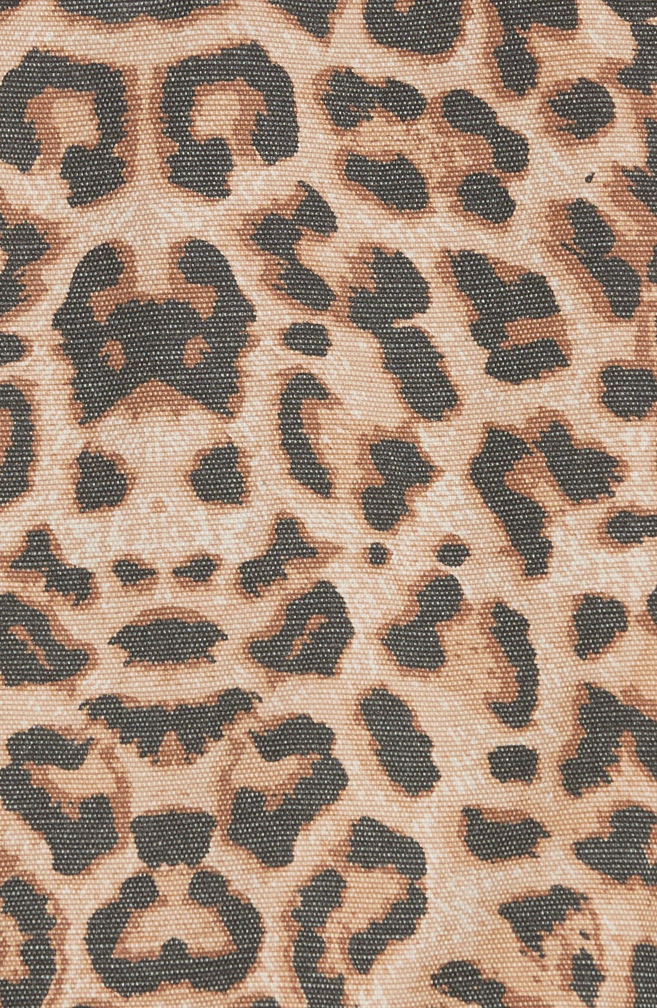 VERONICA BEARD,                             Cara Leopard Print Crop Denim Jacket,                             Alternate thumbnail 7, color,                             LEOPARD