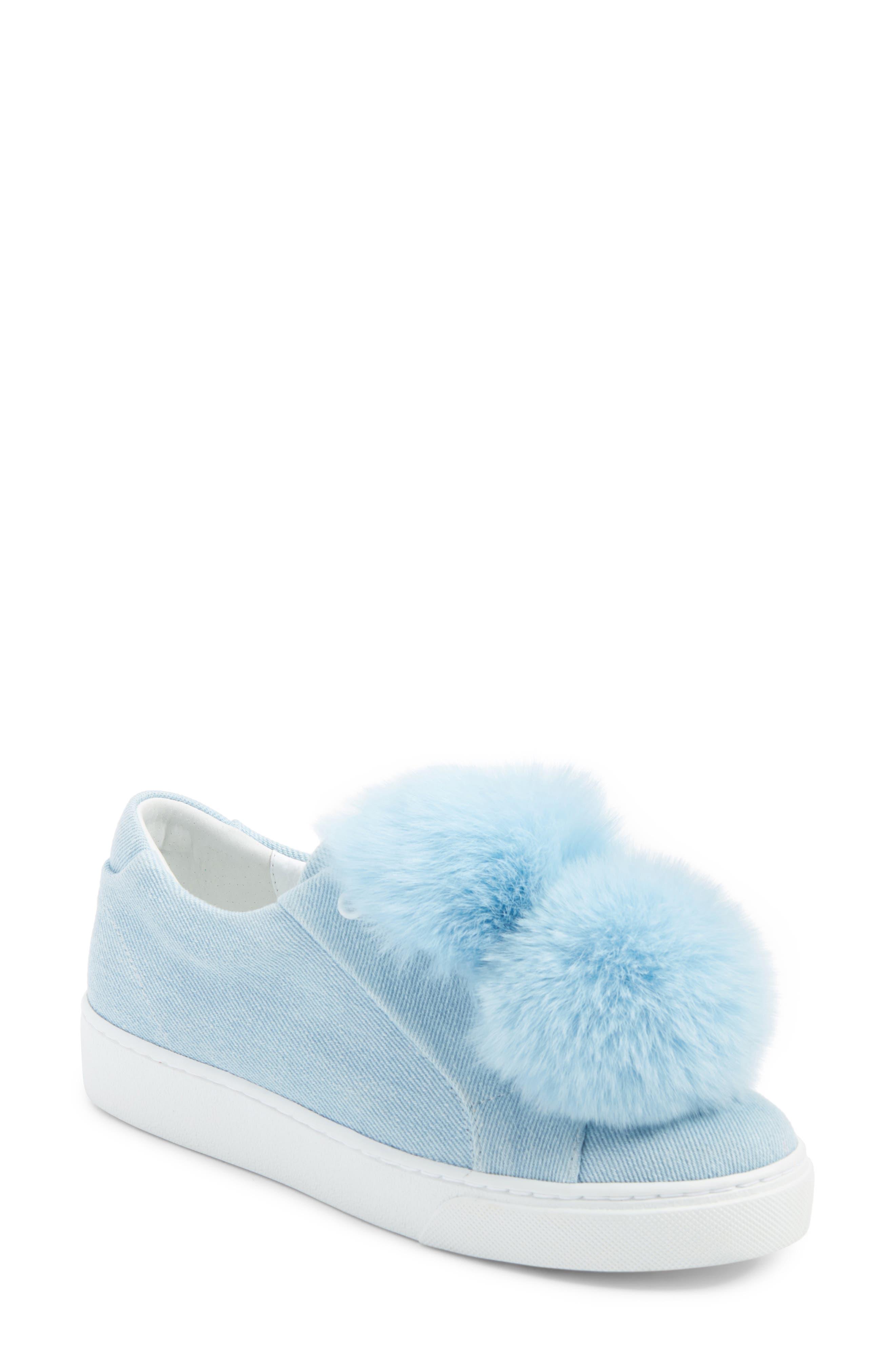 Stella Genuine Fox Fur Trim Platform Sneaker,                             Main thumbnail 1, color,                             400