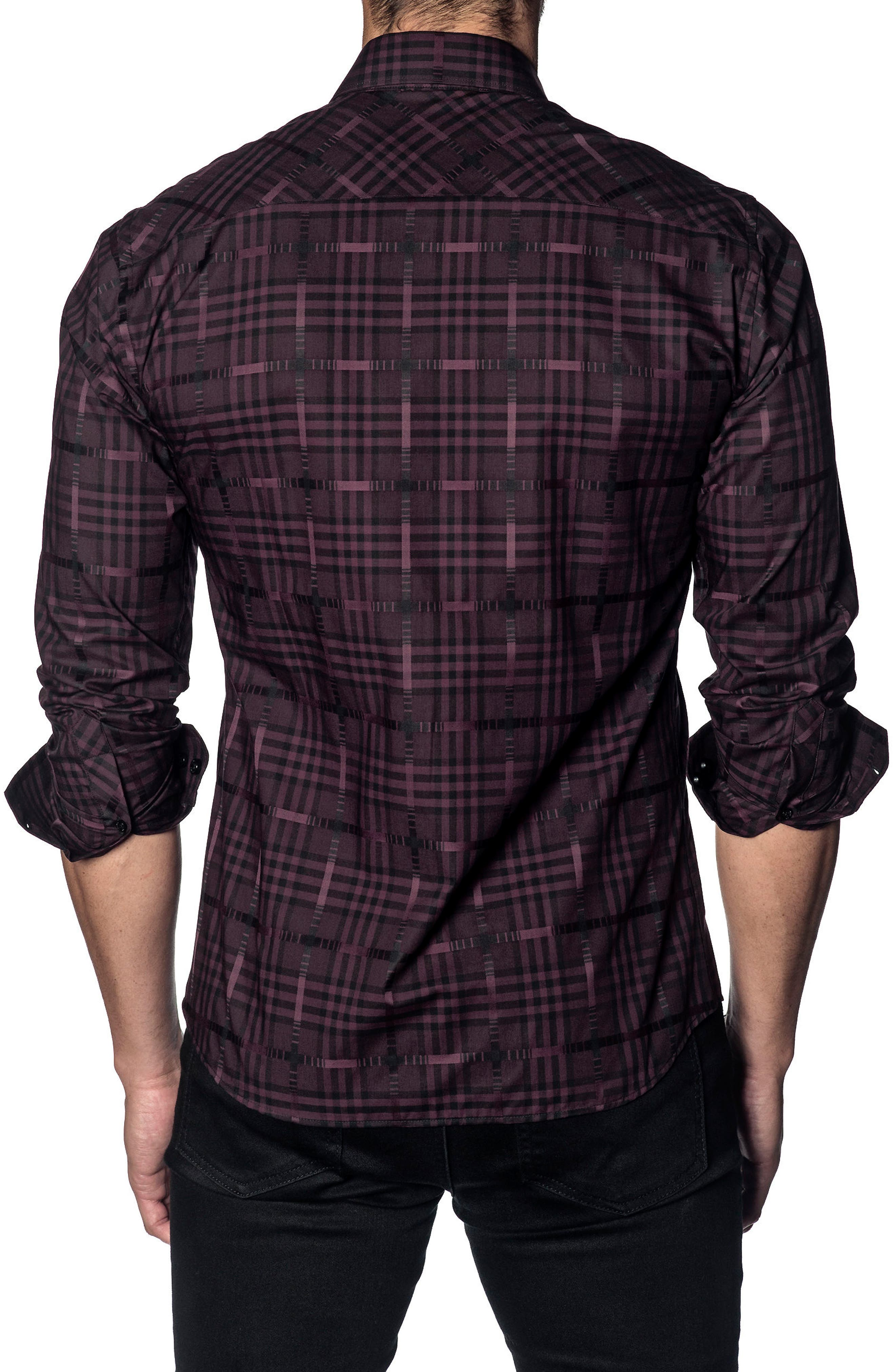 Slim Fit Plaid Sport Shirt,                             Alternate thumbnail 2, color,                             PLUM CHECK
