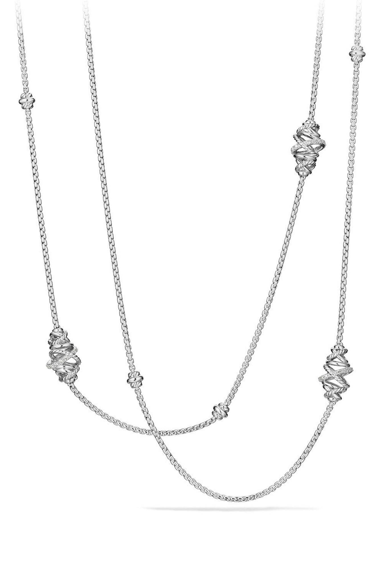 Crossover Station Necklace with Diamonds,                             Main thumbnail 1, color,                             SILVER