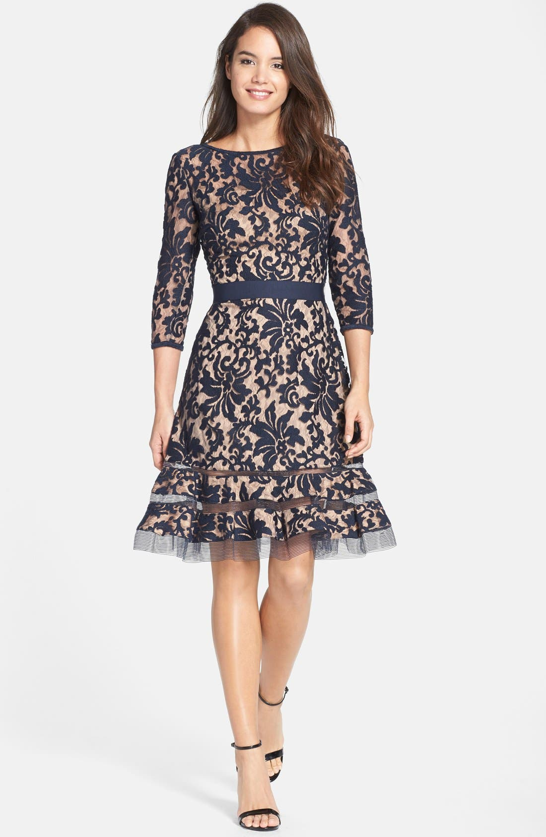 Lace Overlay Dress,                             Alternate thumbnail 6, color,                             408