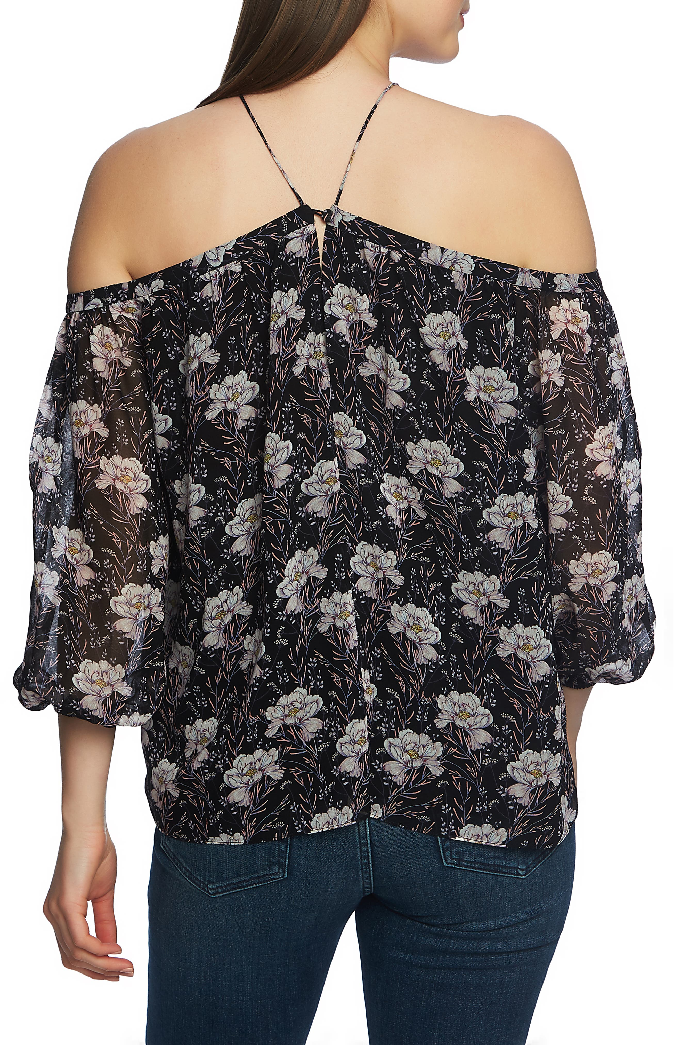 1.STATE,                             Off the Shoulder Sheer Chiffon Blouse,                             Alternate thumbnail 2, color,                             BLOOMSBURY FLORAL BLACK