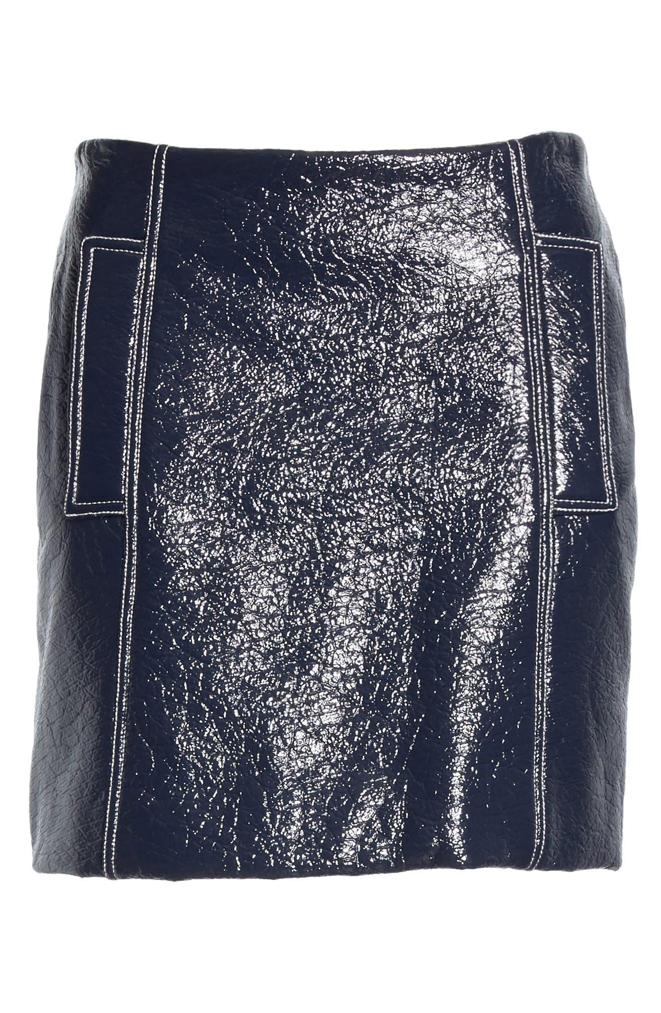 Vara Crinkle Faux Patent Leather Miniskirt,                             Alternate thumbnail 6, color,                             400