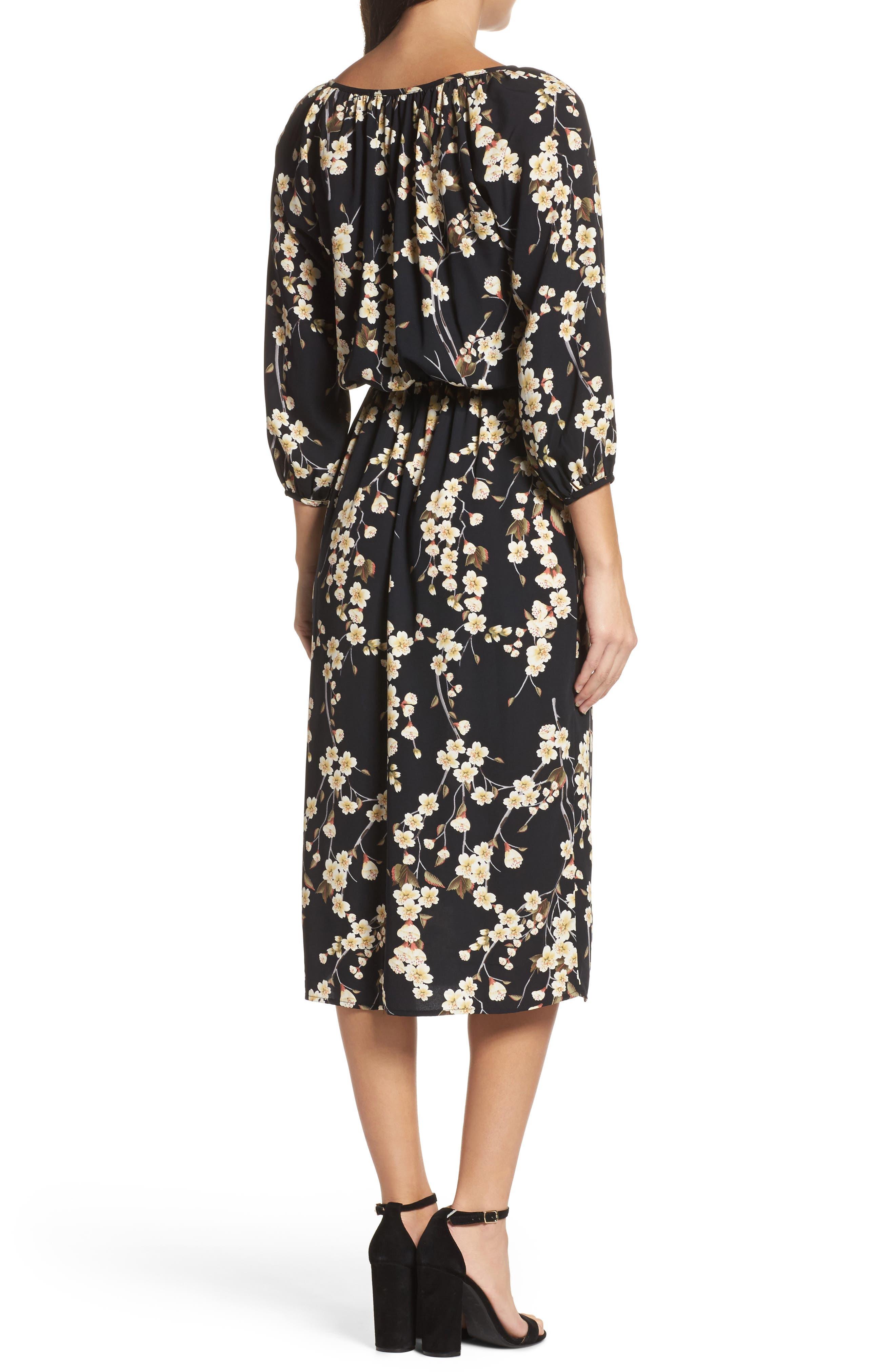 Floral Blouson Dress,                             Alternate thumbnail 2, color,                             002