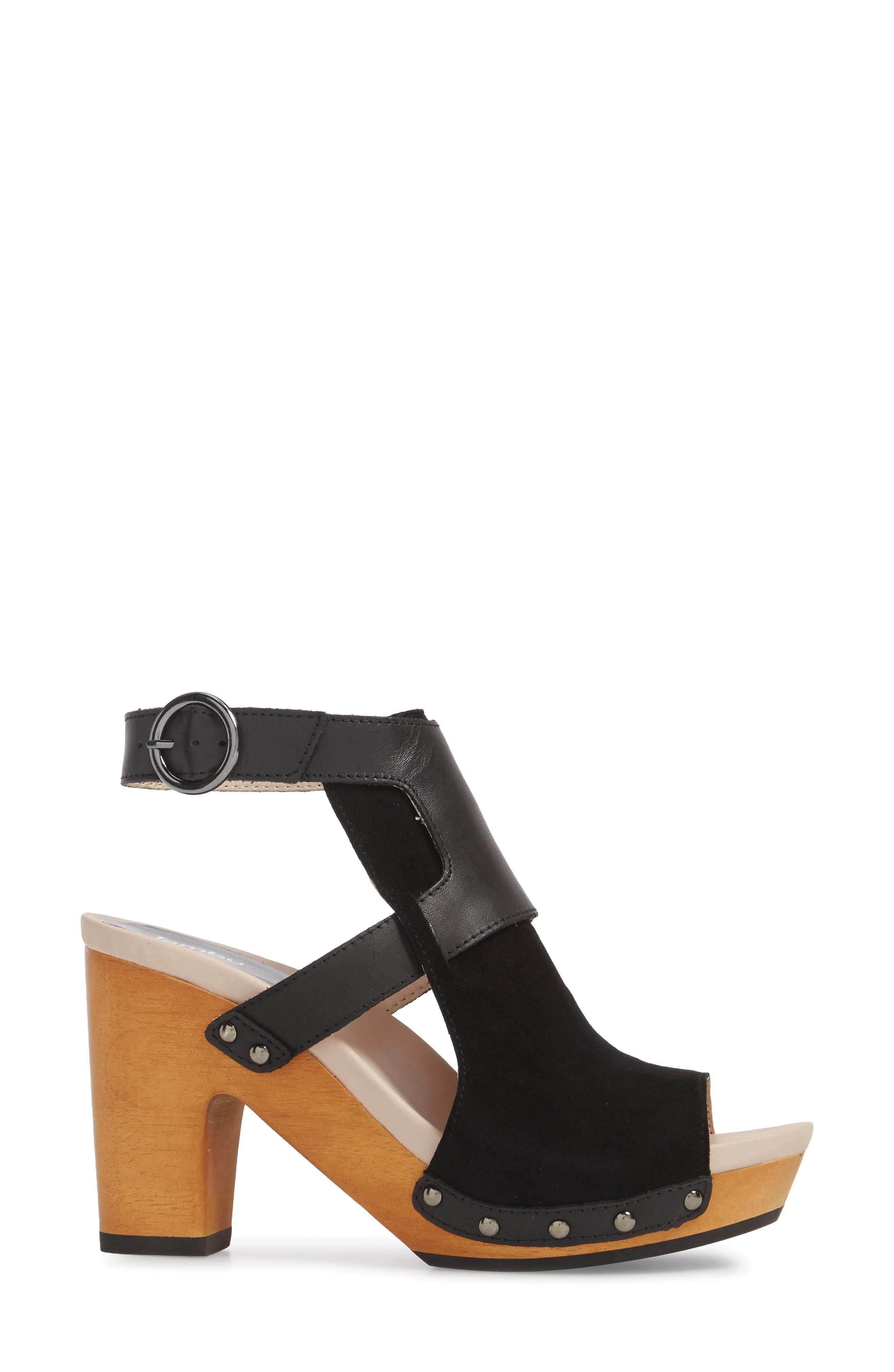Gina Platform Sandal,                             Alternate thumbnail 3, color,                             BLACK LEATHER