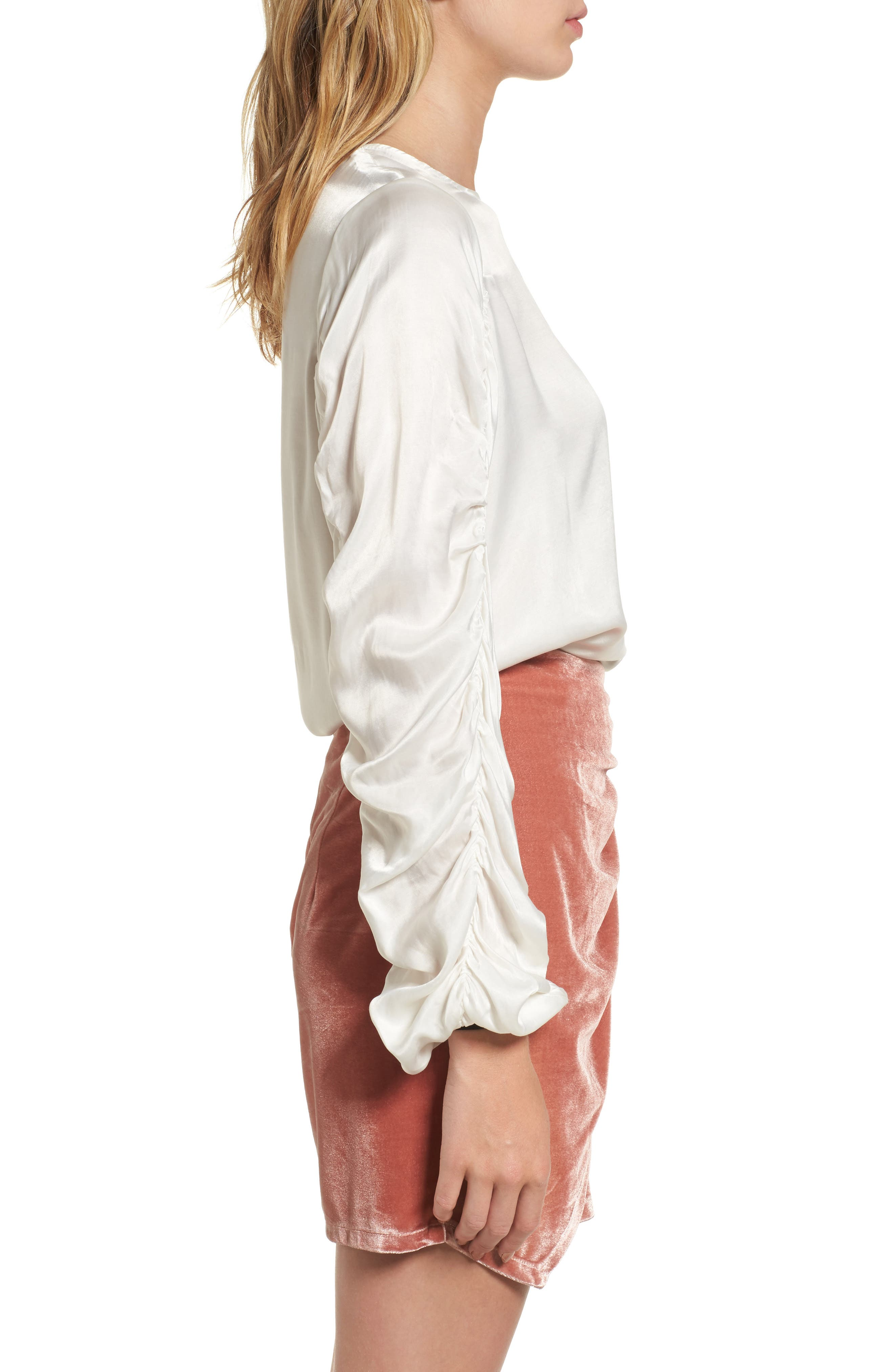 Lexi Ruched Sleeve Top,                             Alternate thumbnail 3, color,                             900