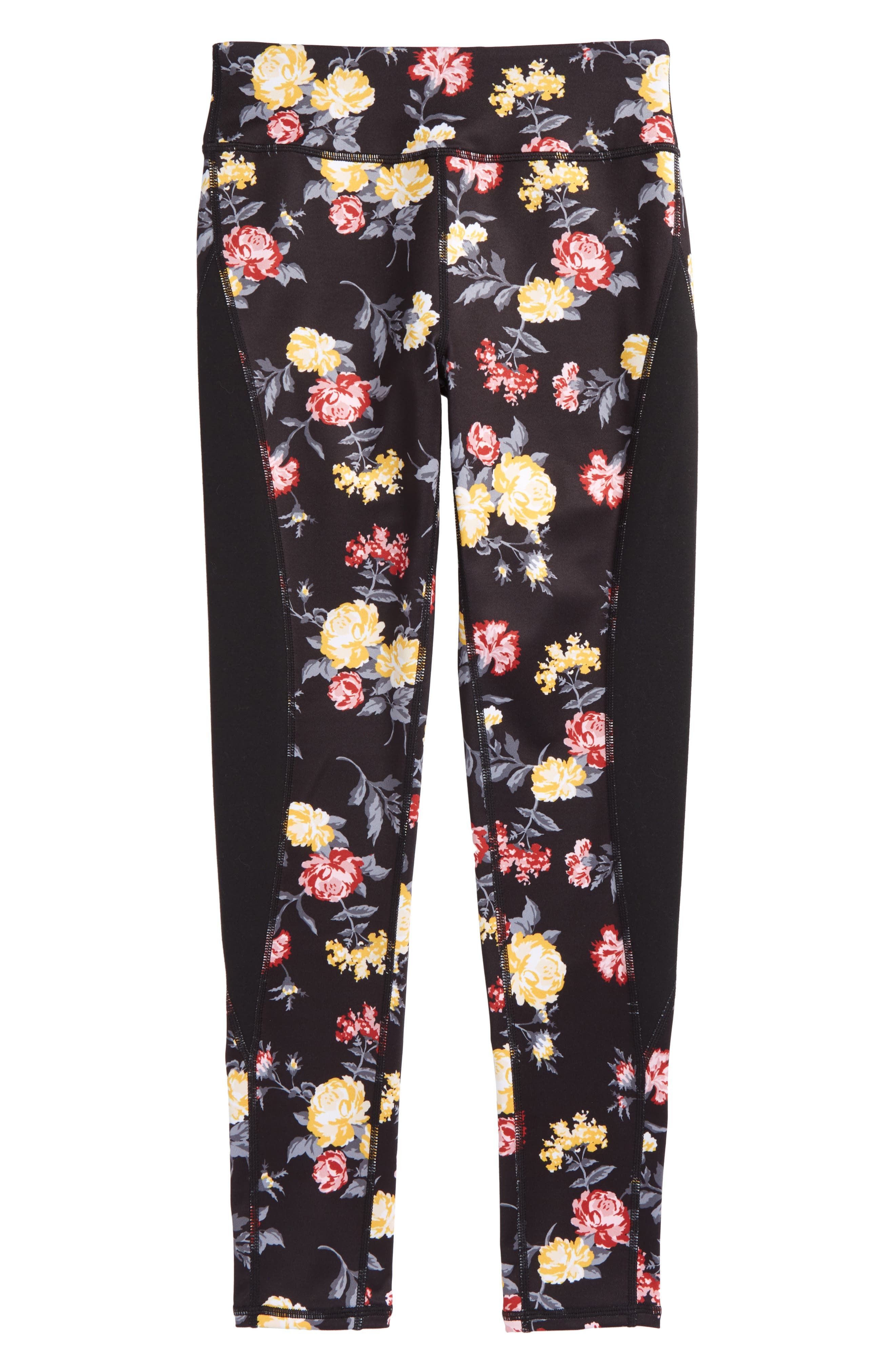 Print High Waist Leggings,                         Main,                         color, BLACK CHINTZY FLORAL