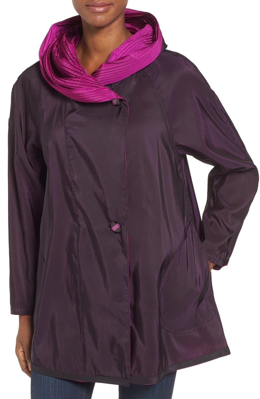 'Mini Donatella' Reversible Pleat Hood Packable Travel Coat,                             Alternate thumbnail 72, color,