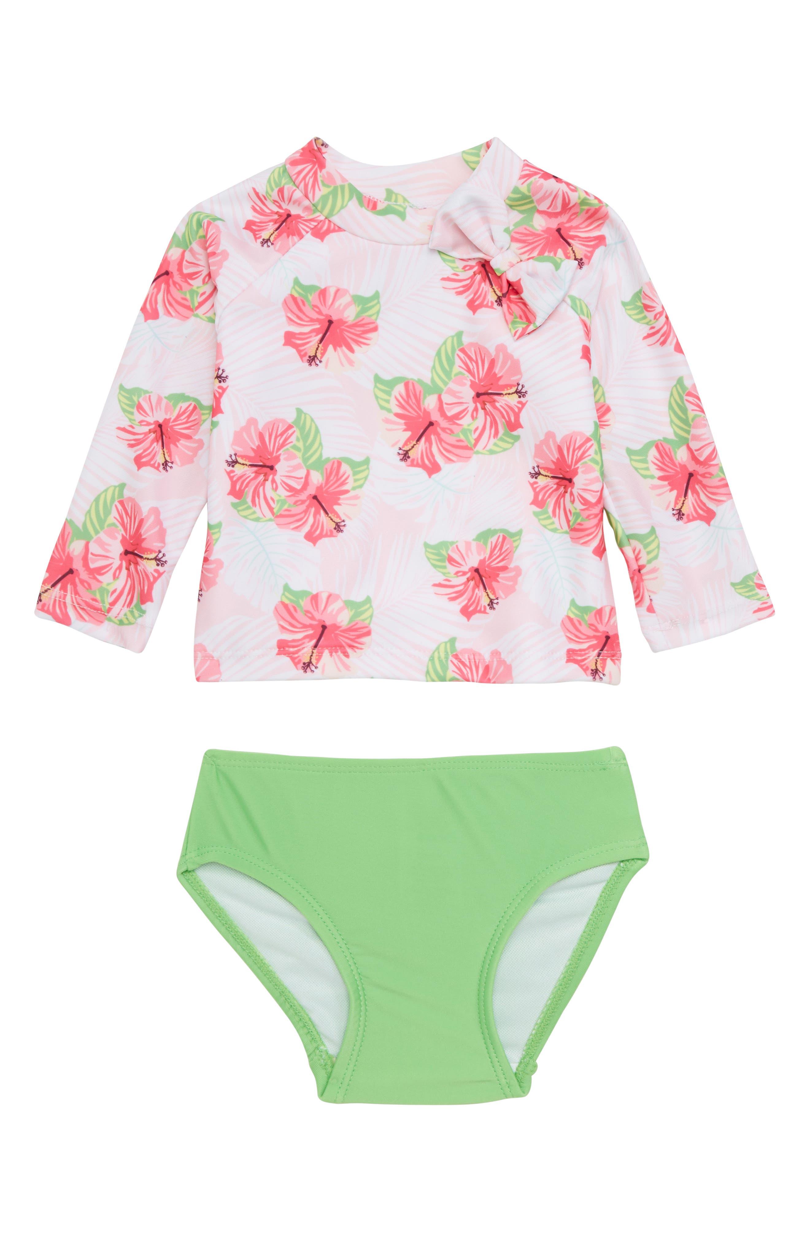 Hibiscus Splash Two-Piece Rashguard Swimsuit,                         Main,                         color, 699