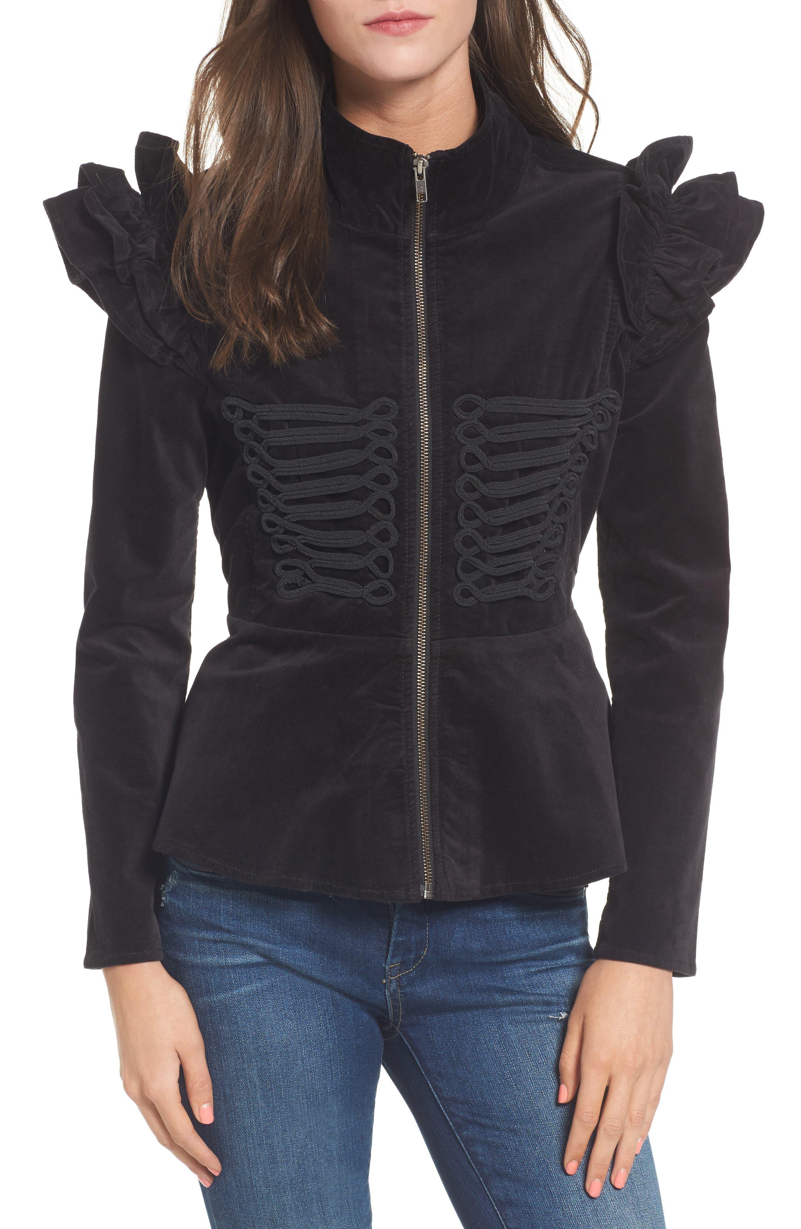 Ruffle Sleeve Peplum Jacket,                         Main,                         color, 001