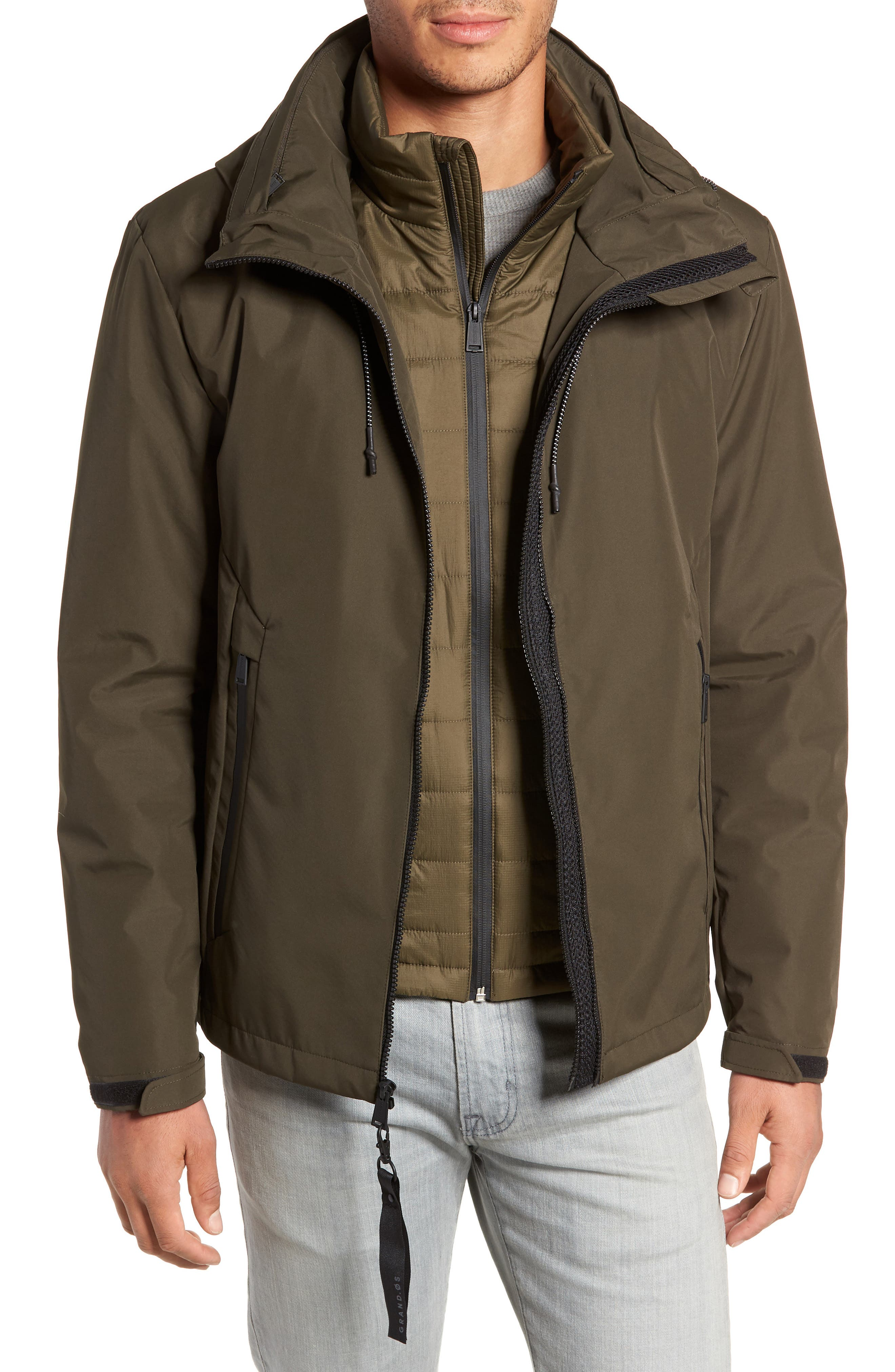 3-in-1 Rain Jacket,                         Main,                         color, OLIVE