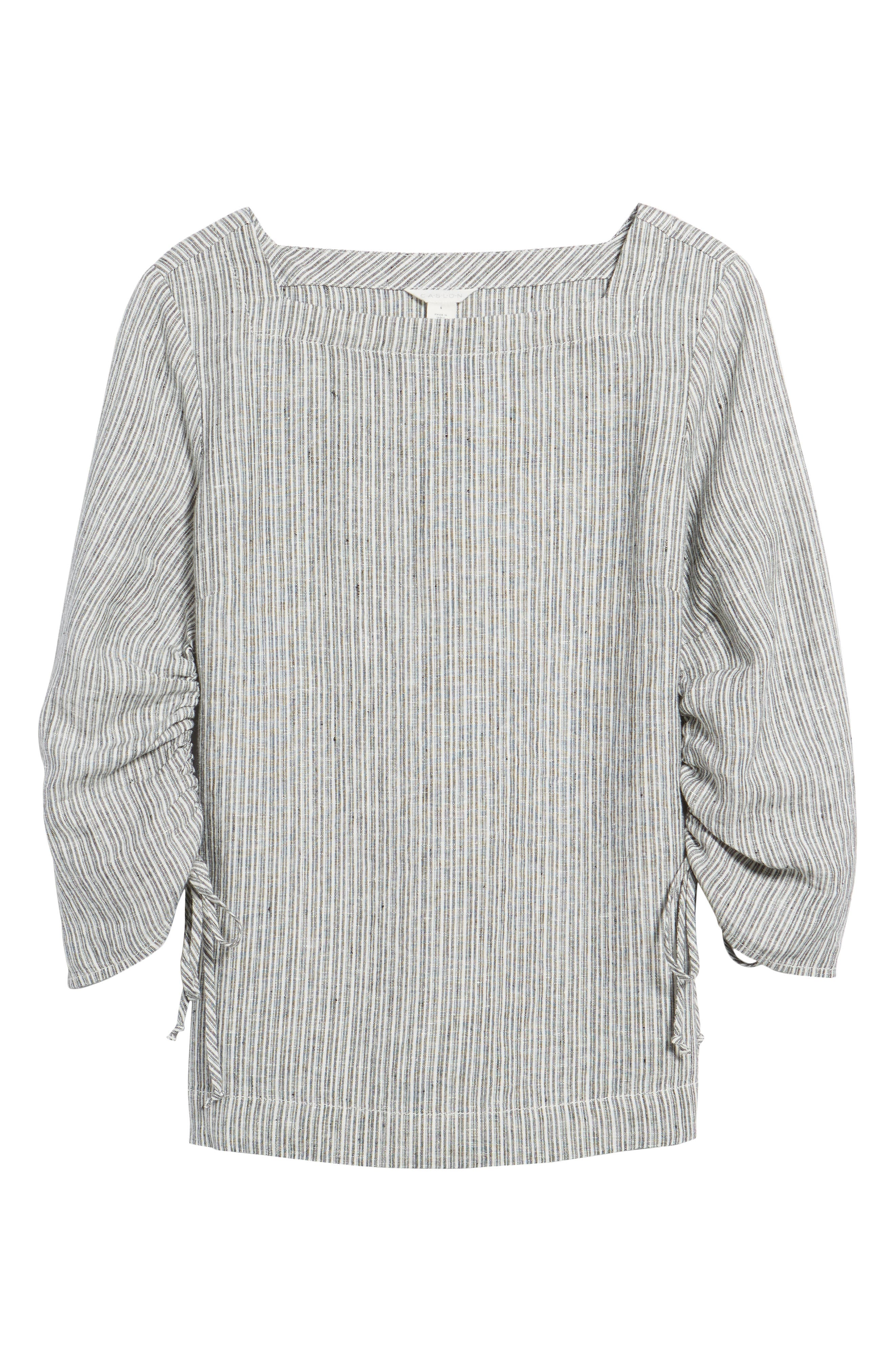Ruched Sleeve Linen Pullover,                             Alternate thumbnail 18, color,