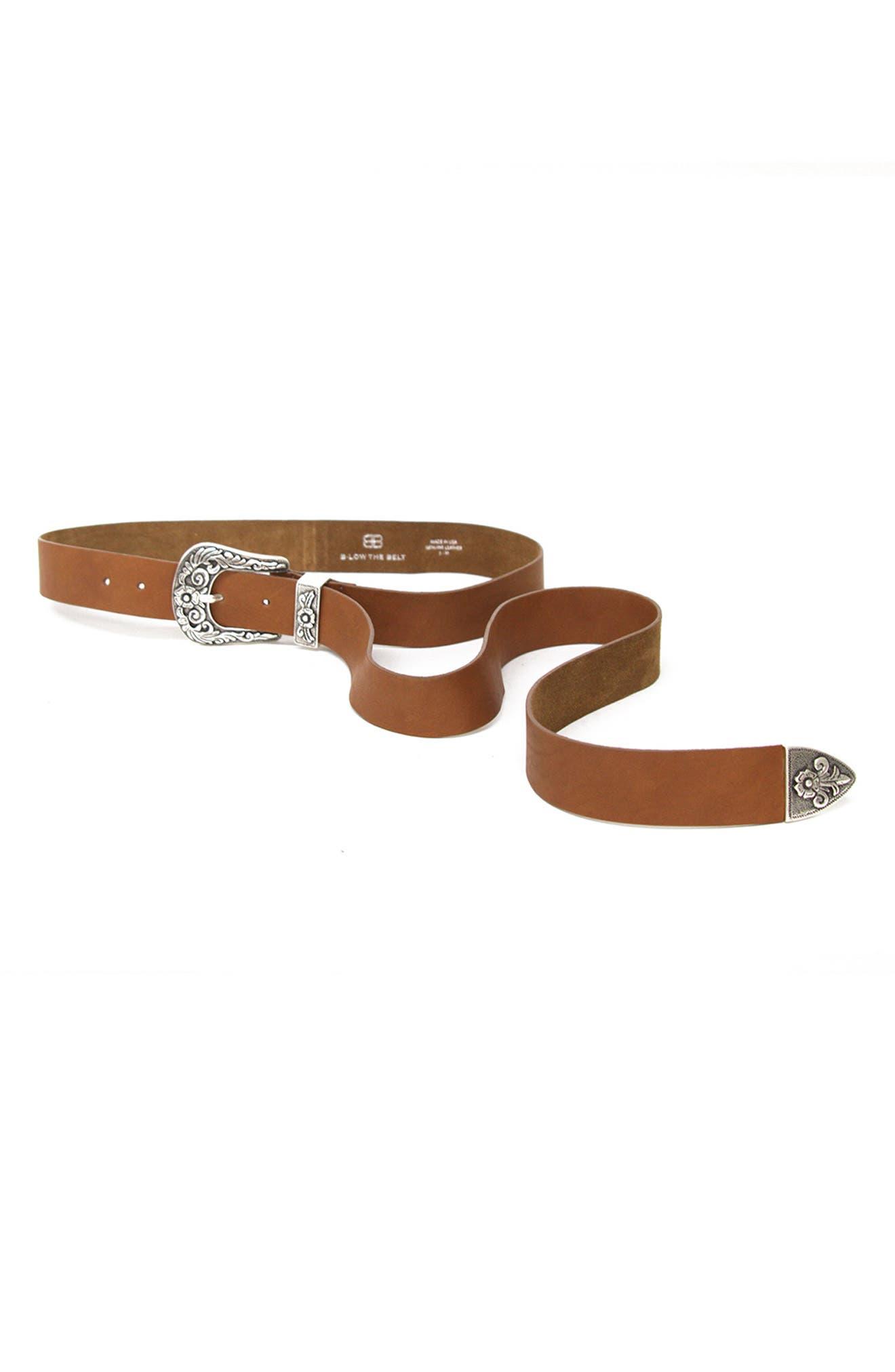 B-Low The Belt Royal Leather Western Belt, Cognac/ Silver