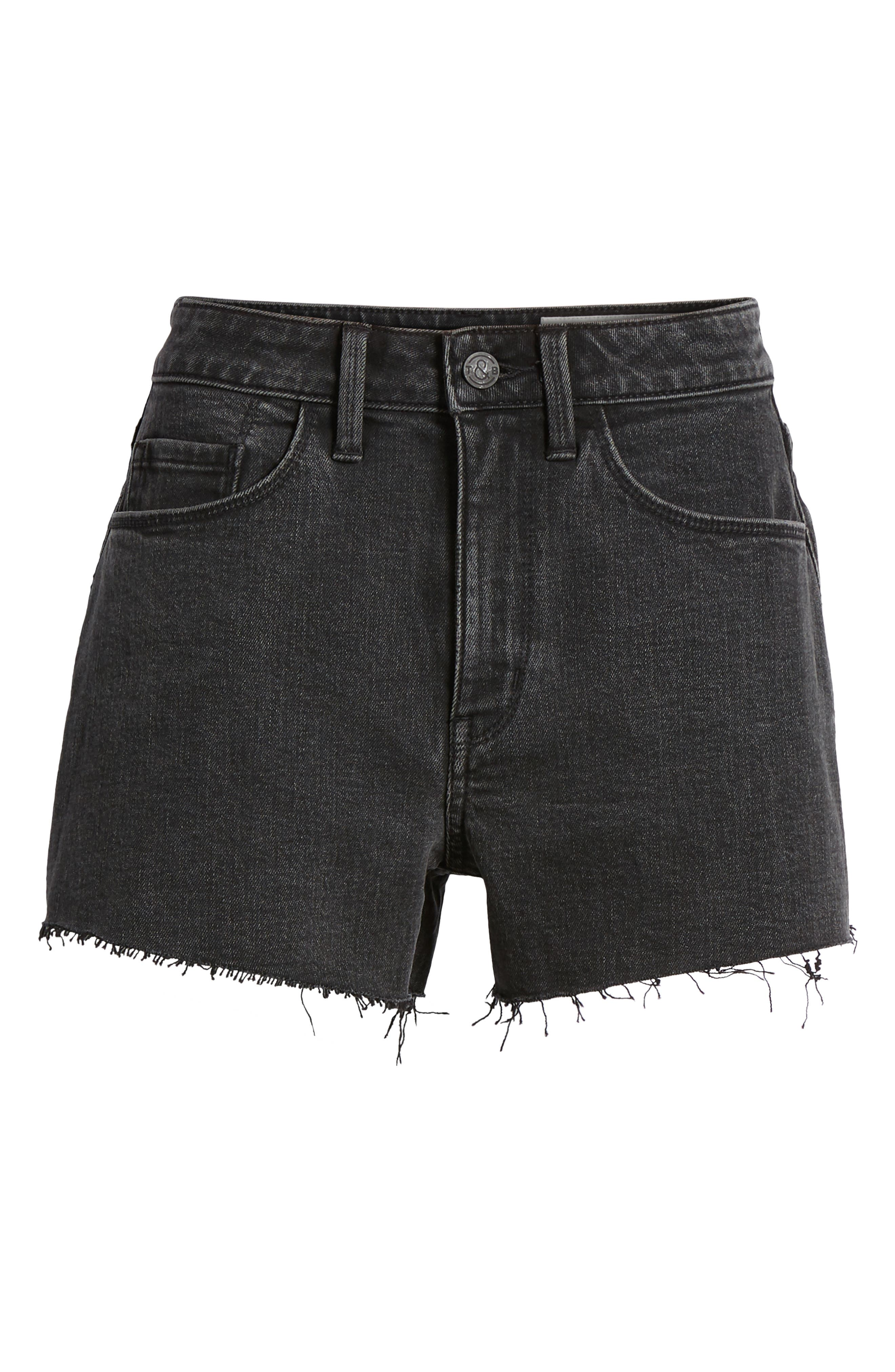 Foster High Waist Cutoff Boyfriend Denim Shorts,                             Alternate thumbnail 7, color,                             001