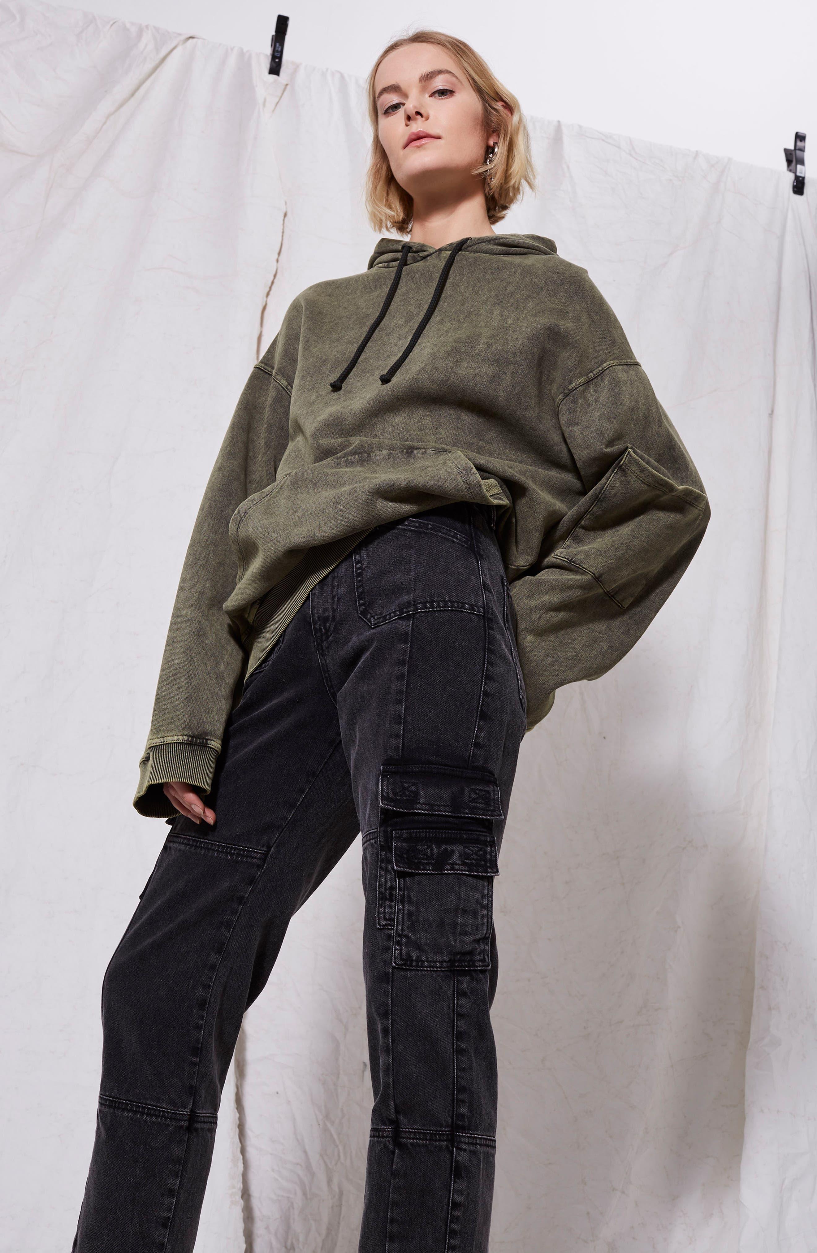 Washed Black Biker Jeans,                             Alternate thumbnail 6, color,                             003