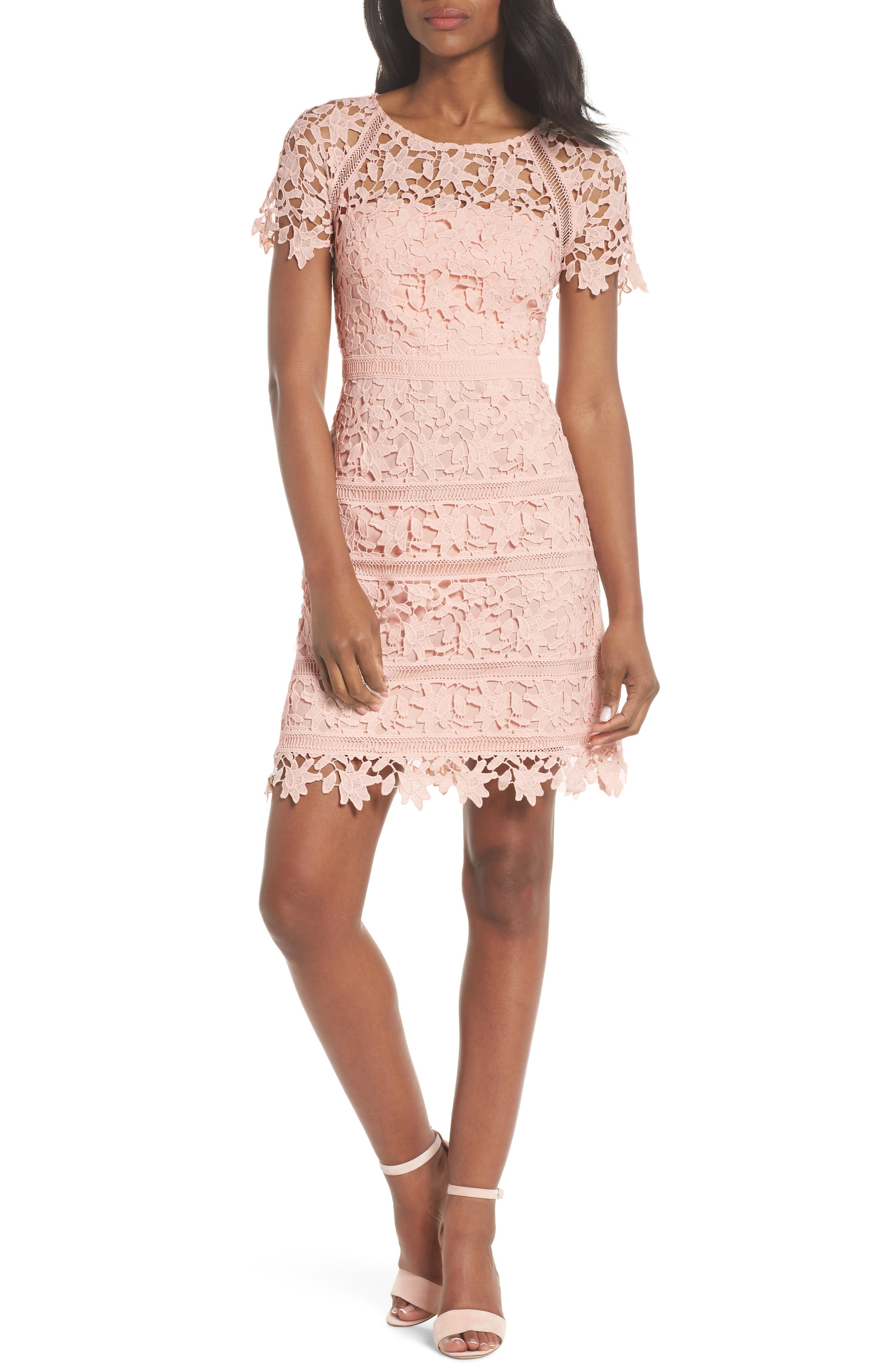 Crochet Overlay Dress,                             Main thumbnail 1, color,                             BLUSH