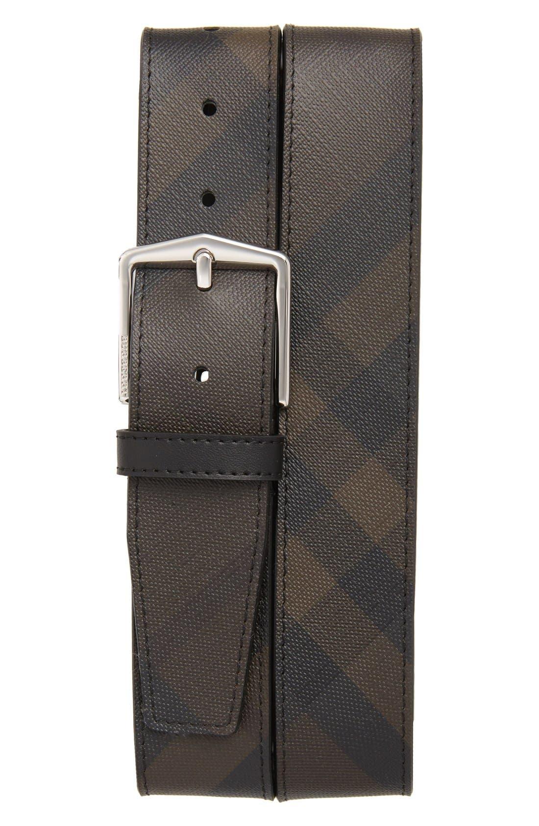 'Joe' Check Pattern Belt,                             Main thumbnail 1, color,                             CHOCOLATE/ BLACK