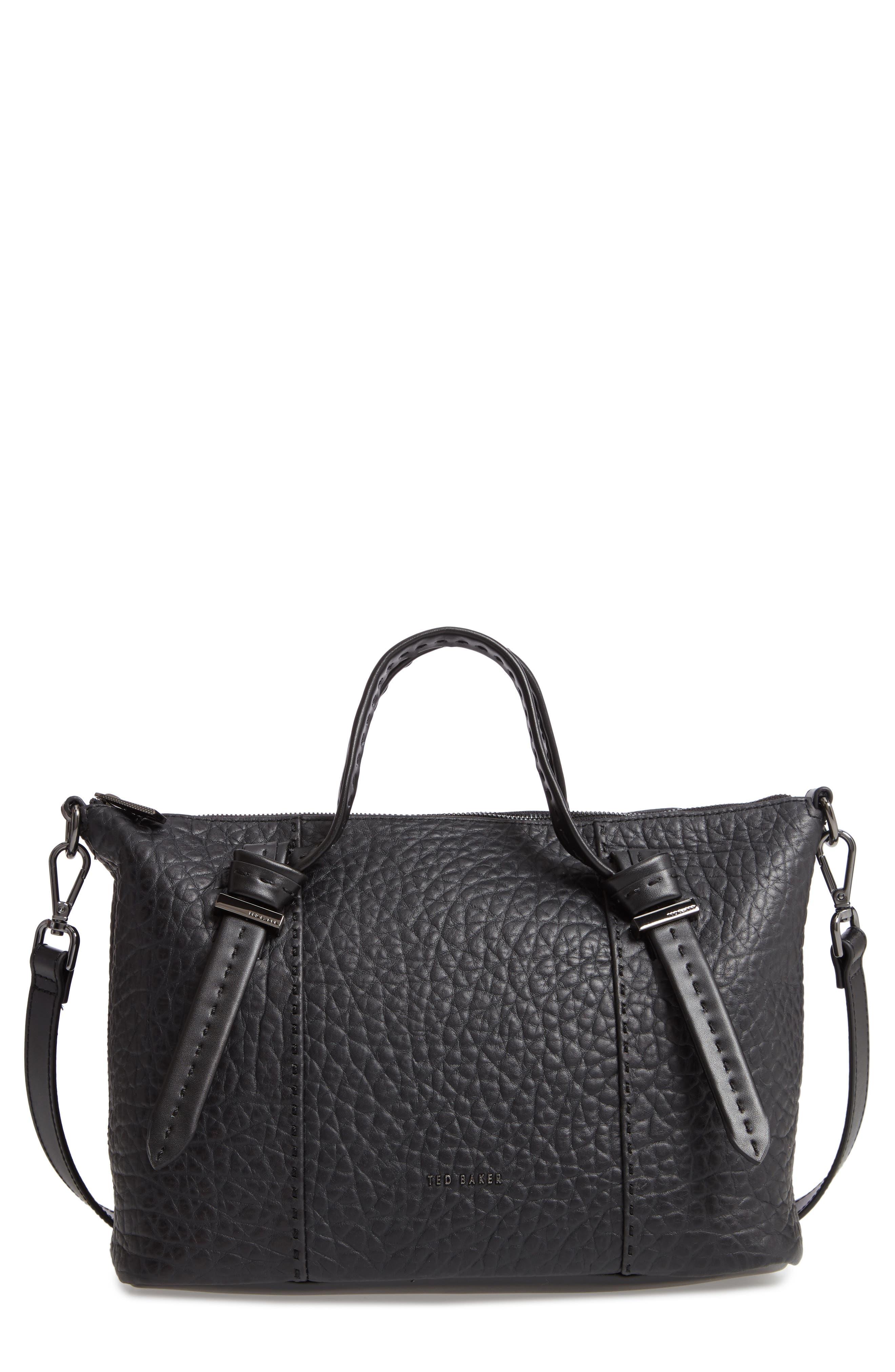 Olmia Small Leather Tote, Main, color, JET BLACK