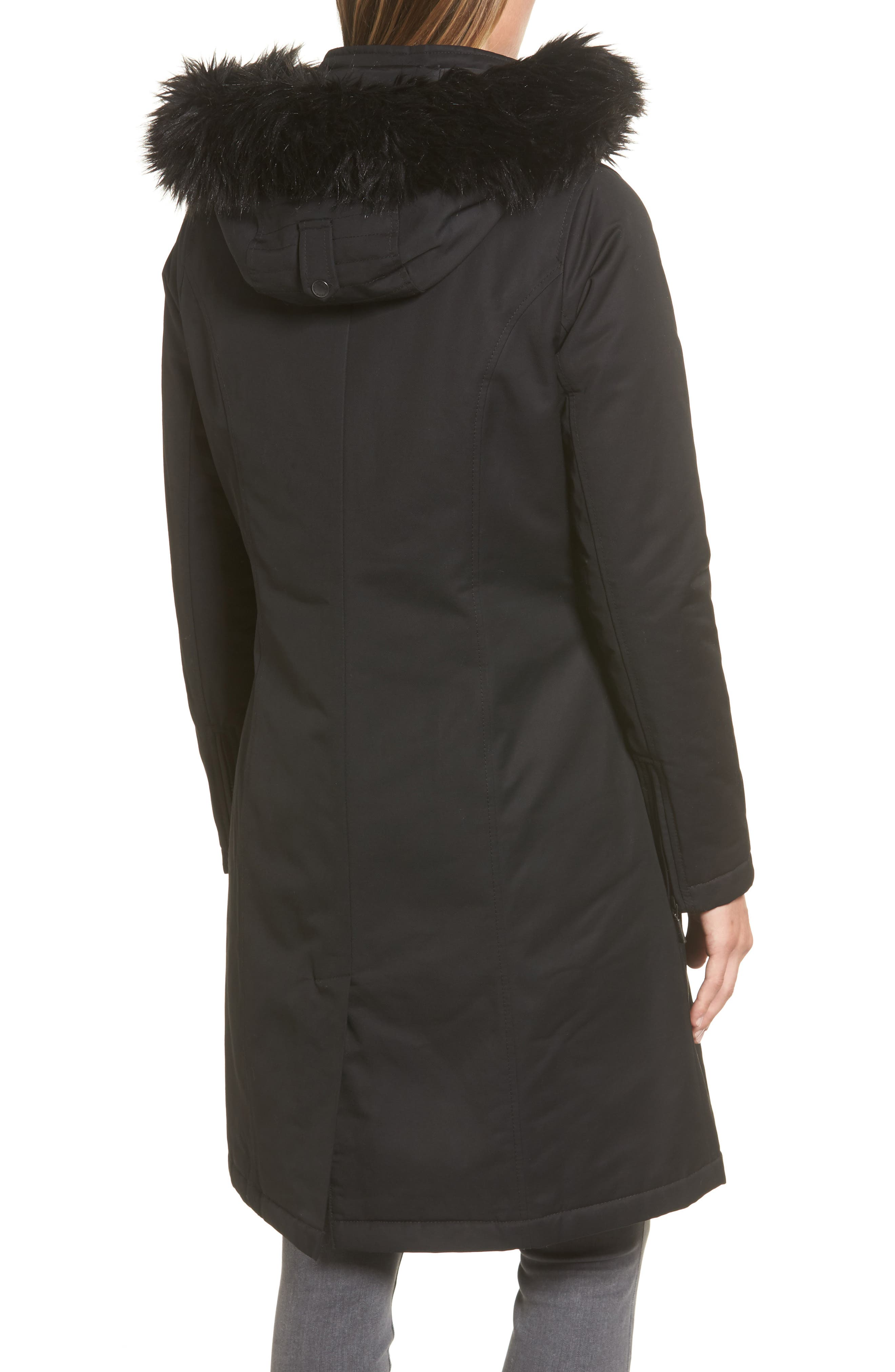 Mondello Hooded Water Resistant Jacket with Faux Fur Trim,                             Alternate thumbnail 2, color,                             001