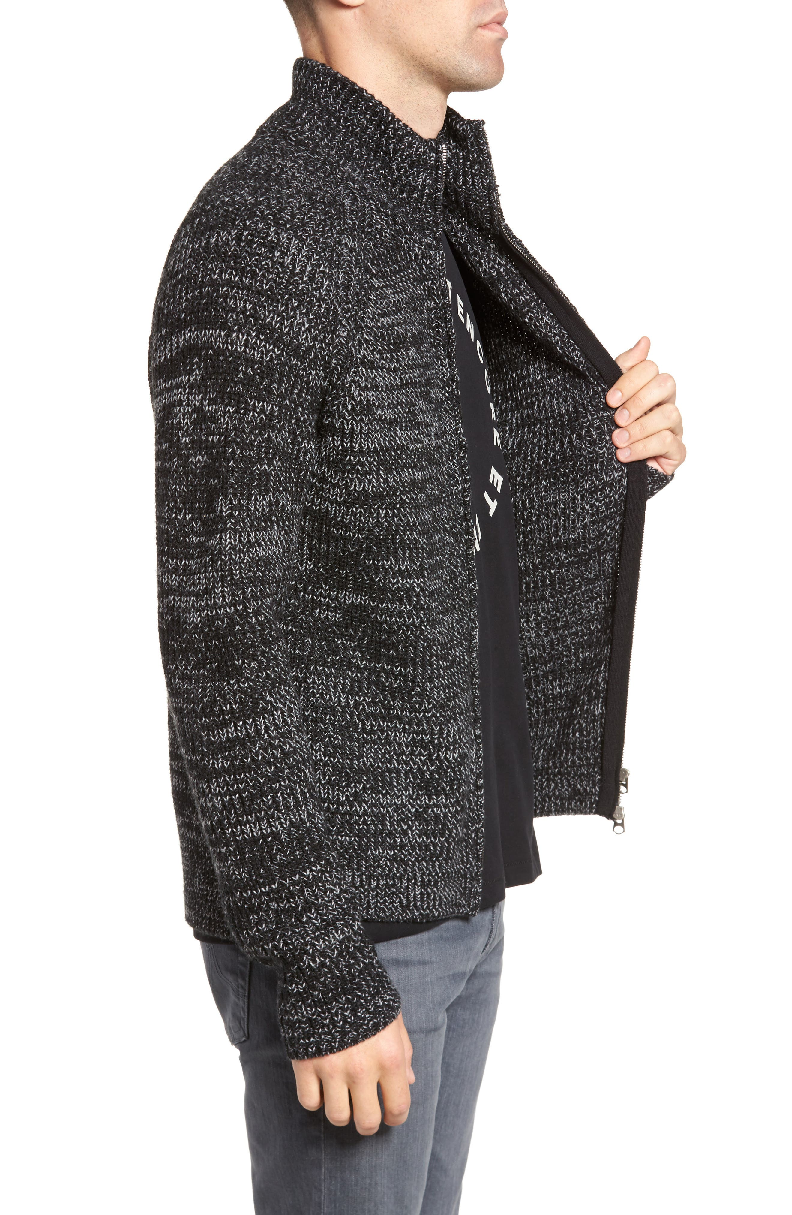 Zip Wool Blend Cardigan,                             Alternate thumbnail 3, color,                             001