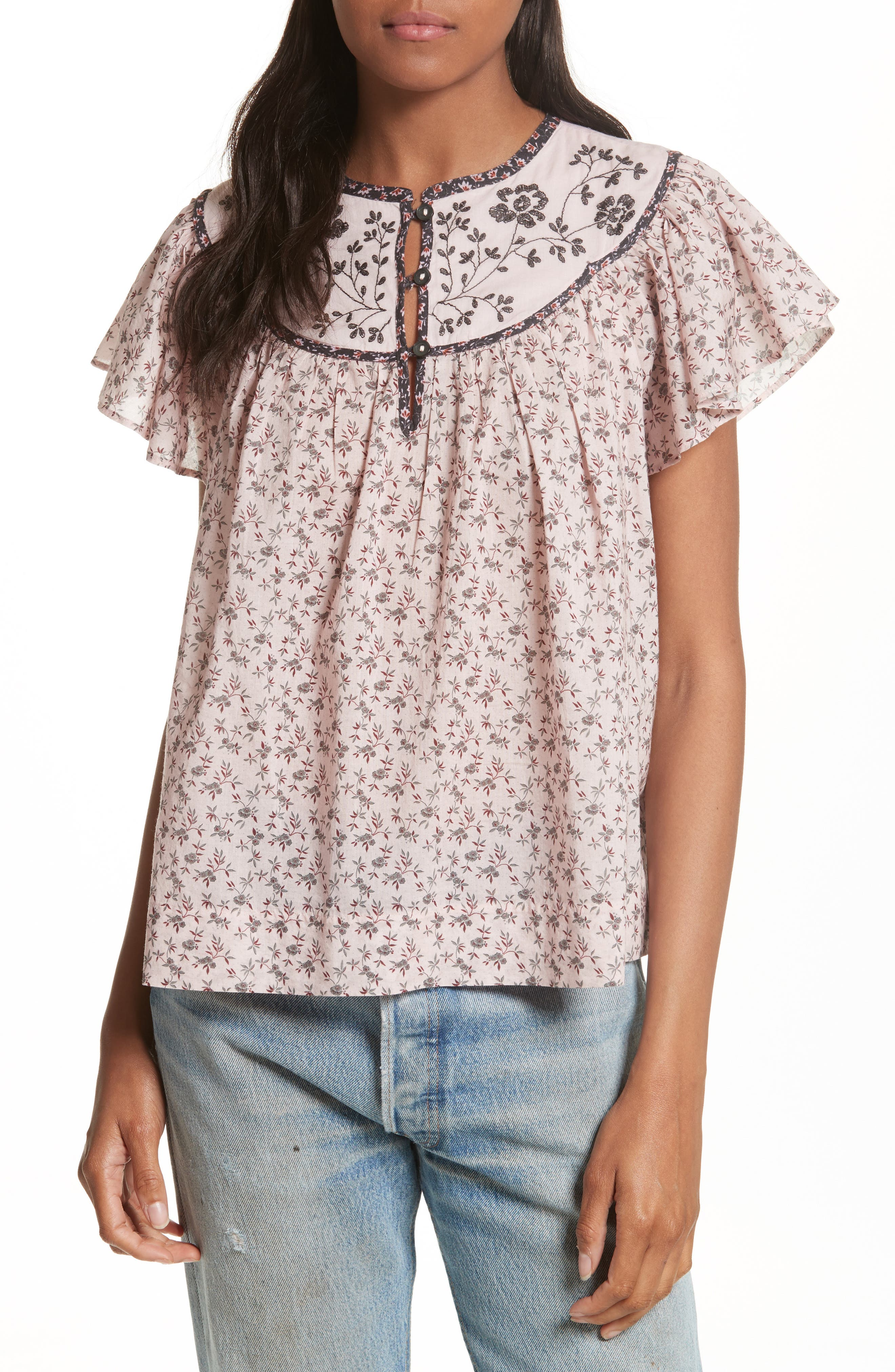 Embroidered Yoke Top,                         Main,                         color, 938