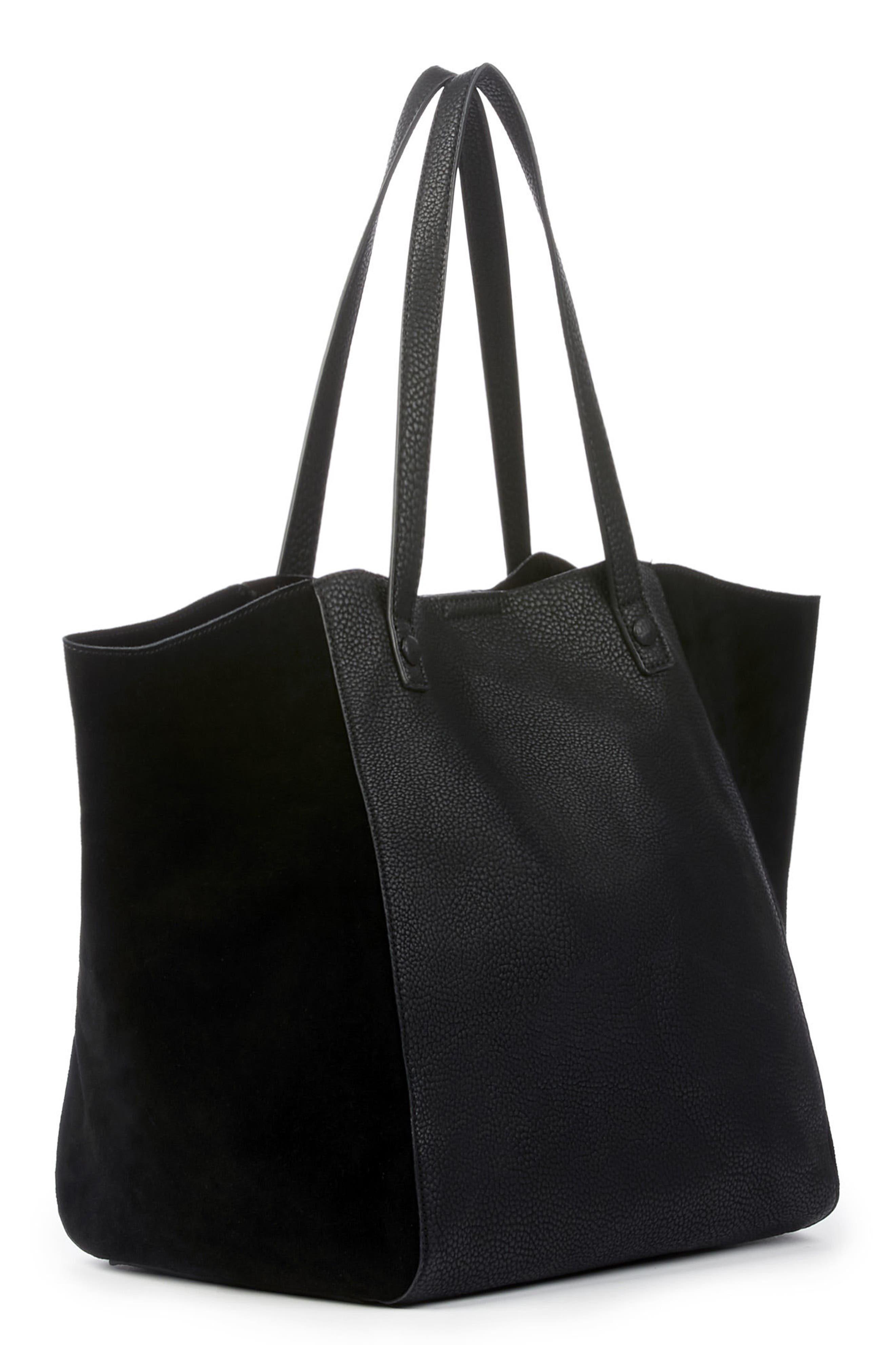 SOLE SOCIETY,                             Wesley Slouchy Suede Tote,                             Alternate thumbnail 4, color,                             001
