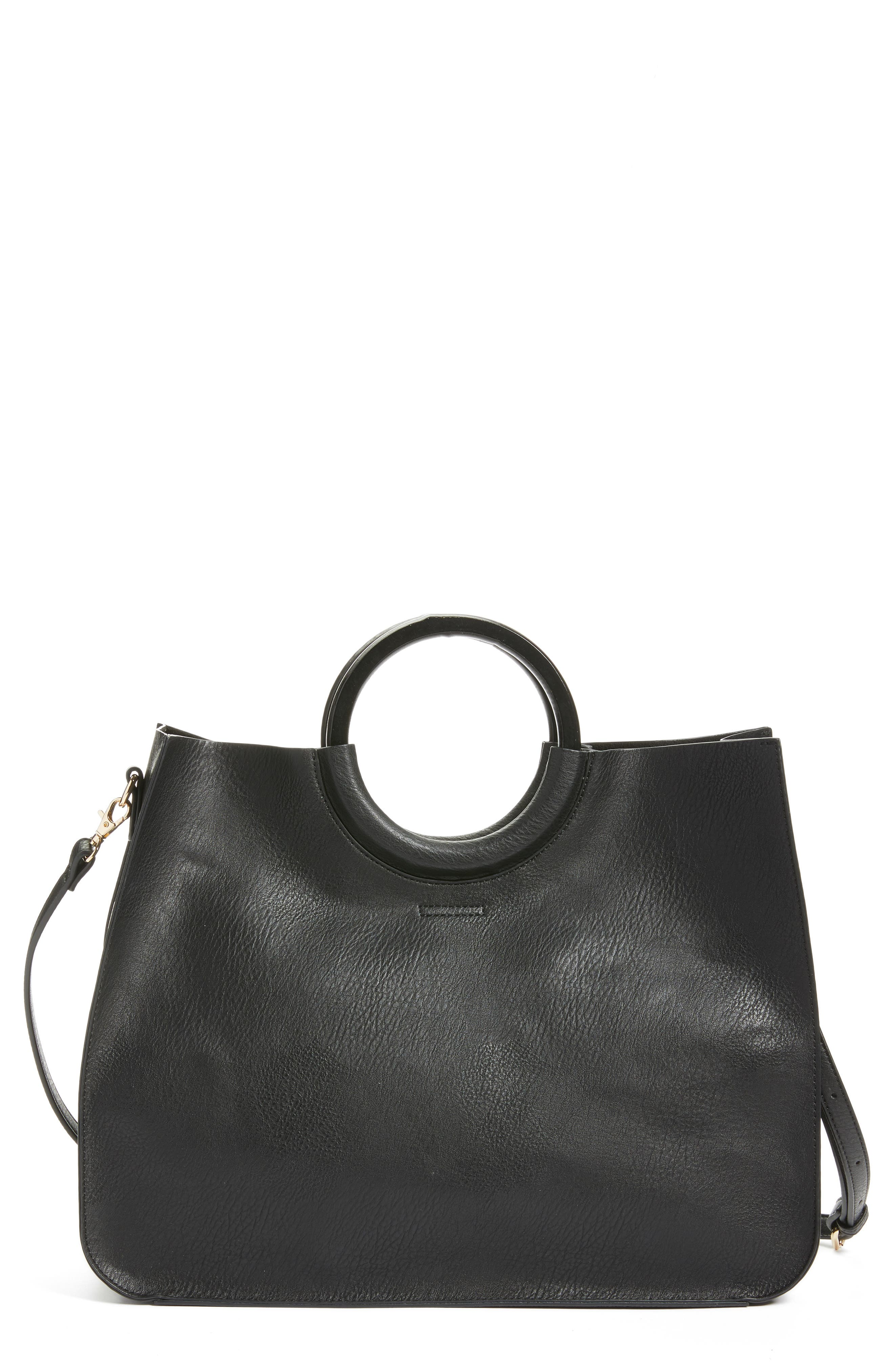 Wood Handle Faux Leather Tote,                         Main,                         color, BLACK
