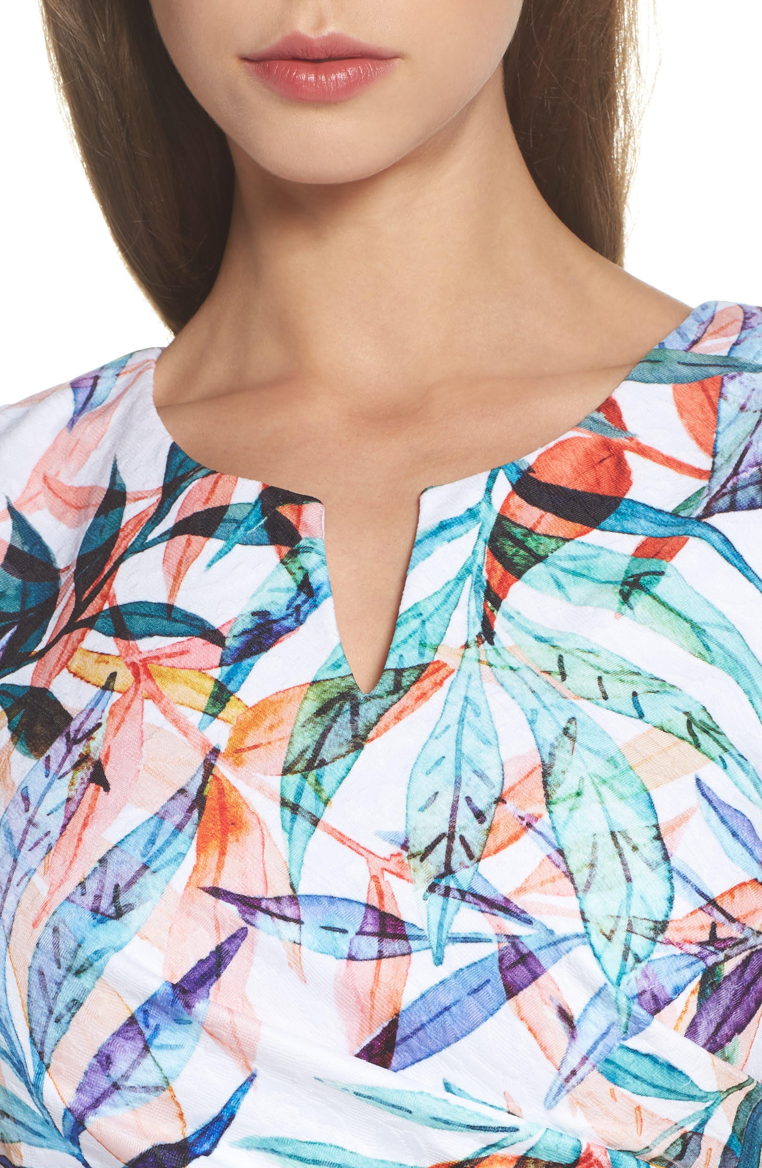 Watercolor Leaves Sheath Dress,                             Alternate thumbnail 4, color,                             900