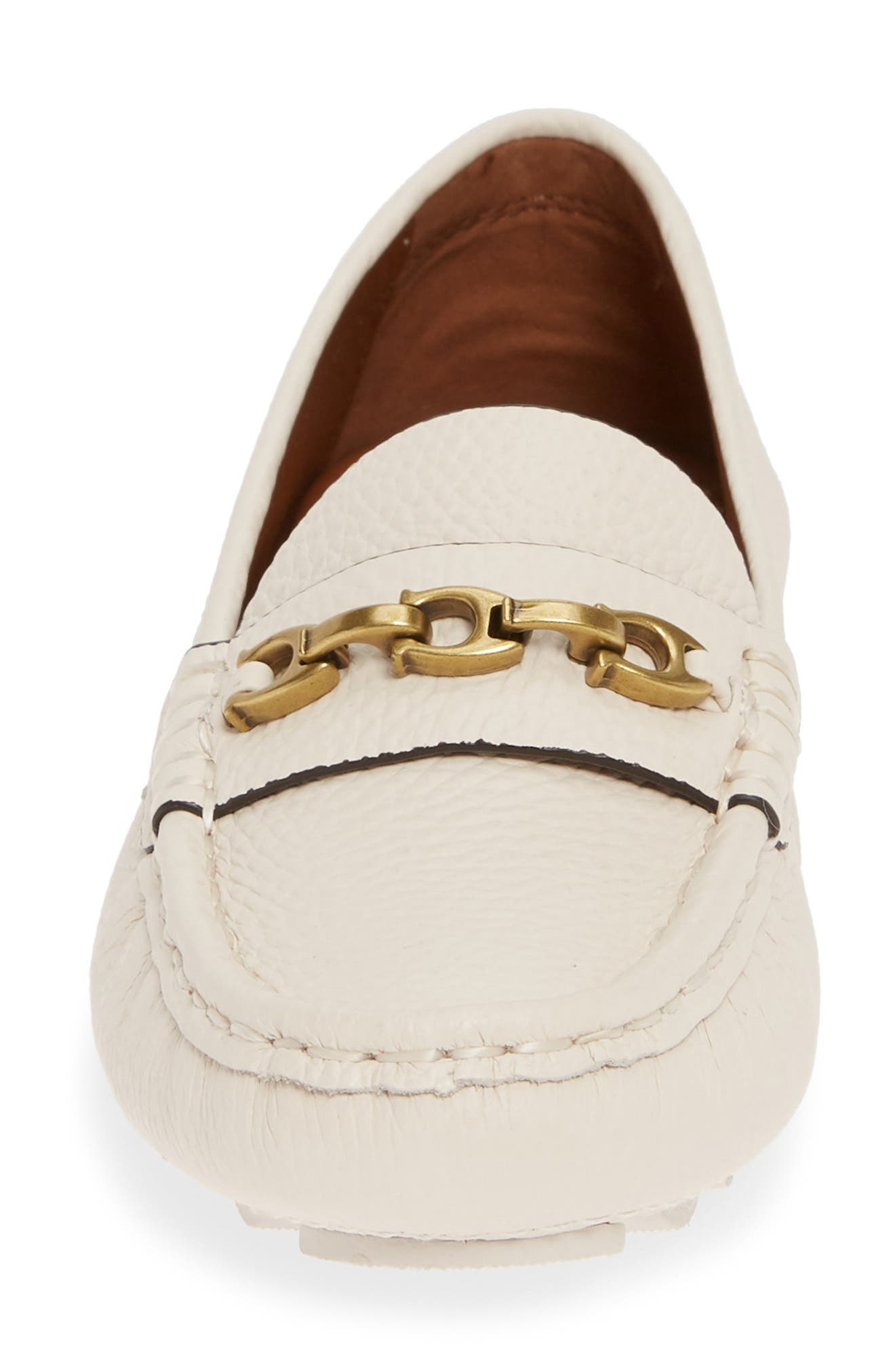 COACH,                             Crosby Driver Loafer,                             Alternate thumbnail 4, color,                             CHALK LEATHER