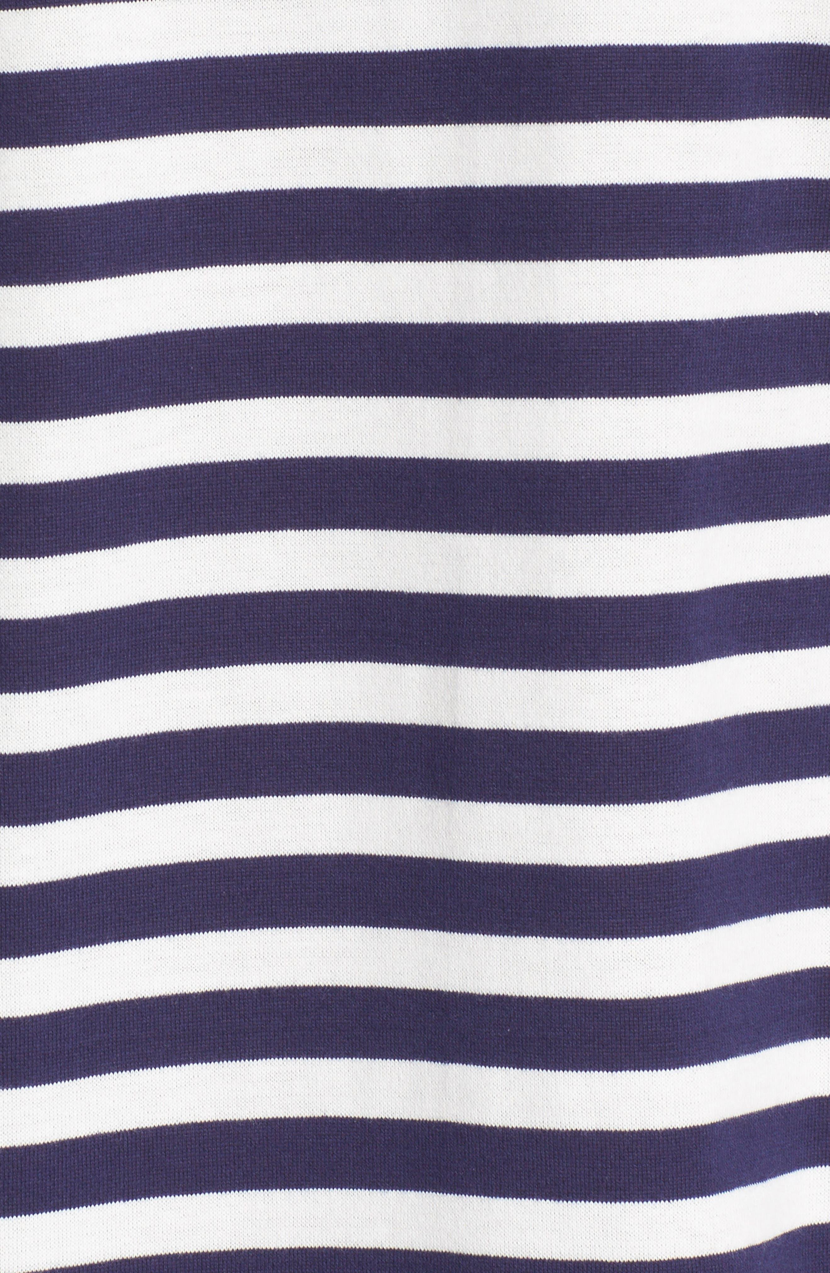 Twin Appliqué Stripe T-Shirt,                             Alternate thumbnail 5, color,                             NAVY/ WHITE