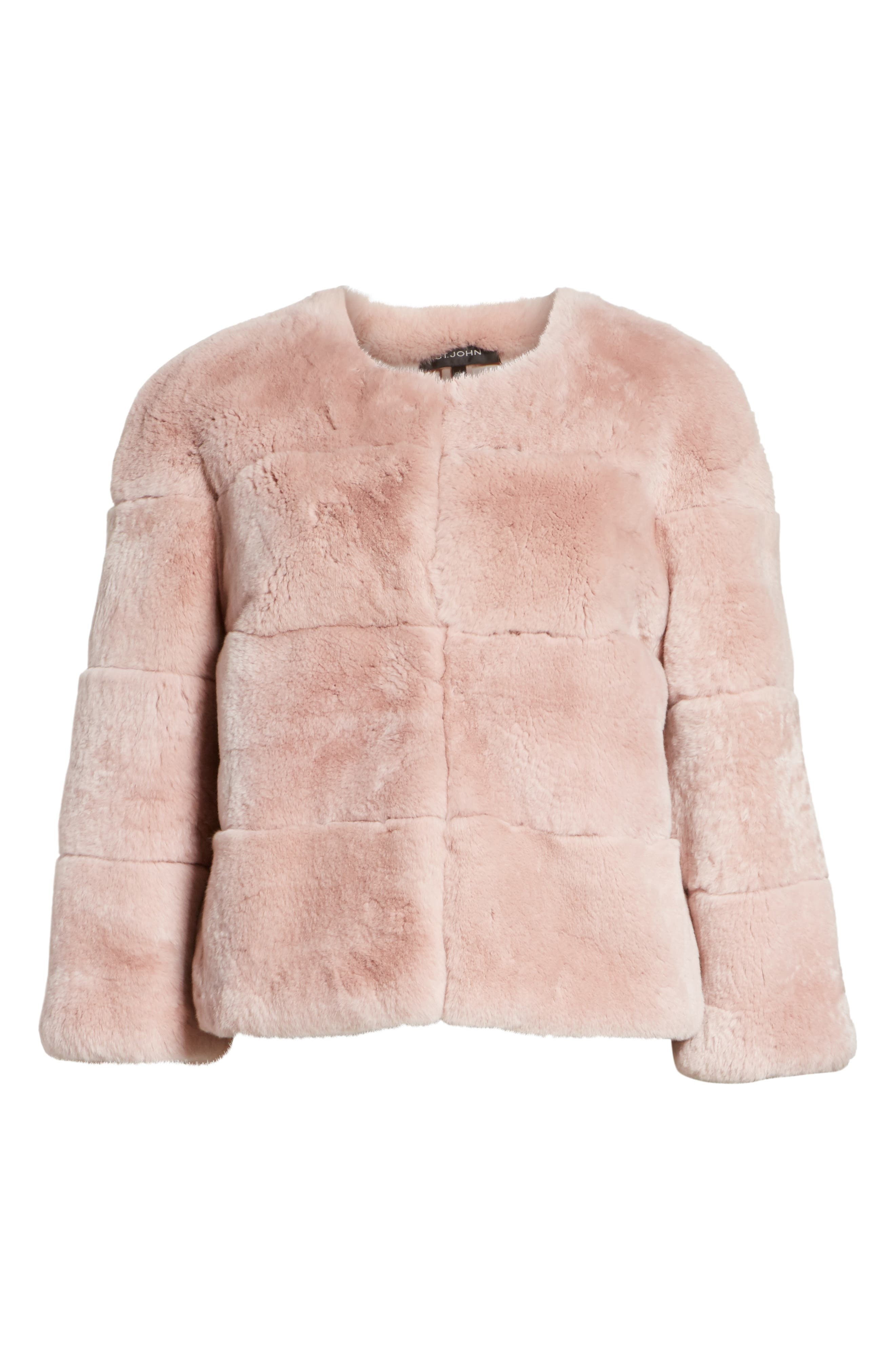 Genuine Rex Rabbit Fur Jacket,                             Alternate thumbnail 5, color,                             680