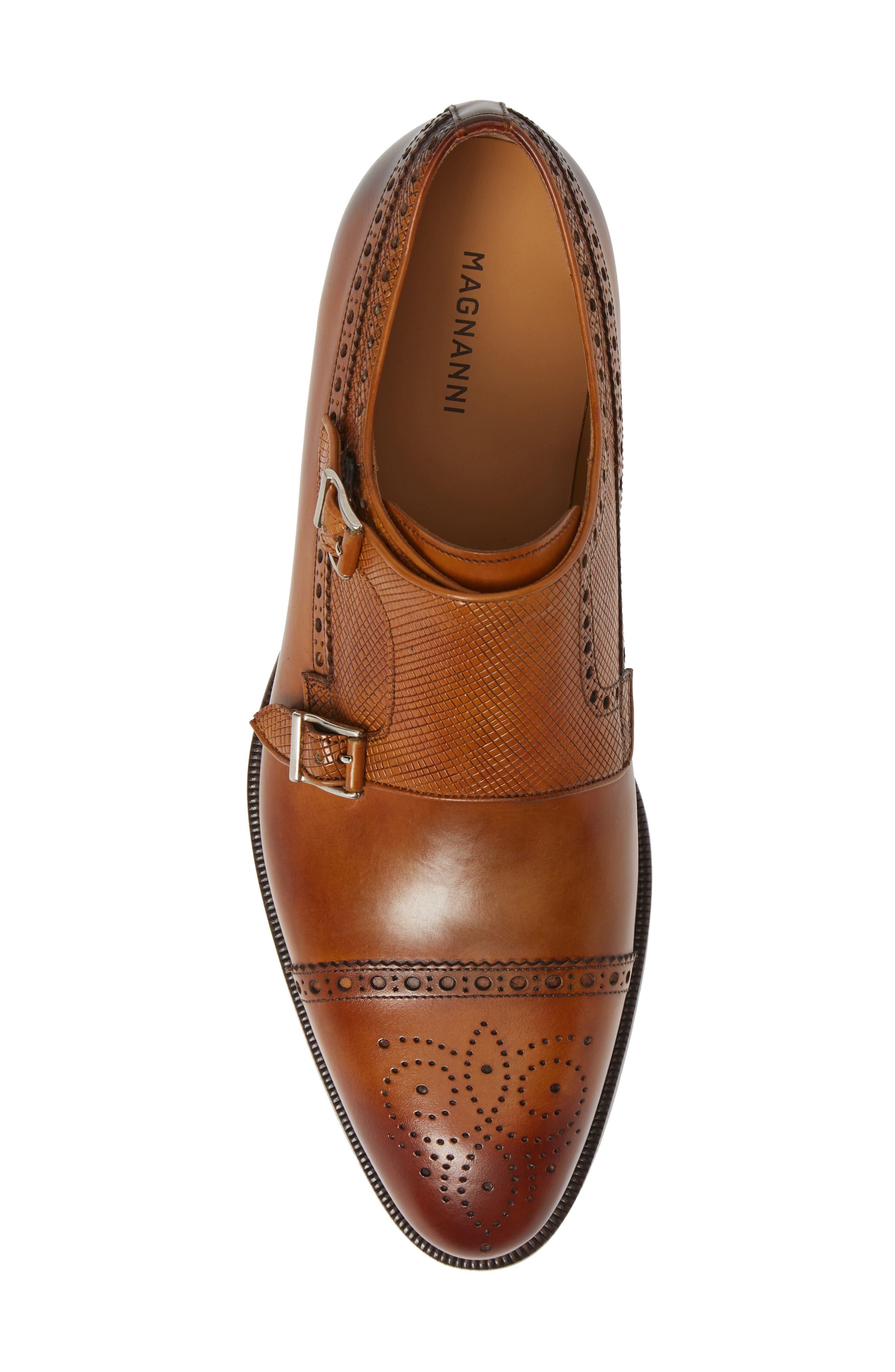 Valda Double Strap Cap Toe Monk Shoe,                             Alternate thumbnail 5, color,                             BROWN LEATHER