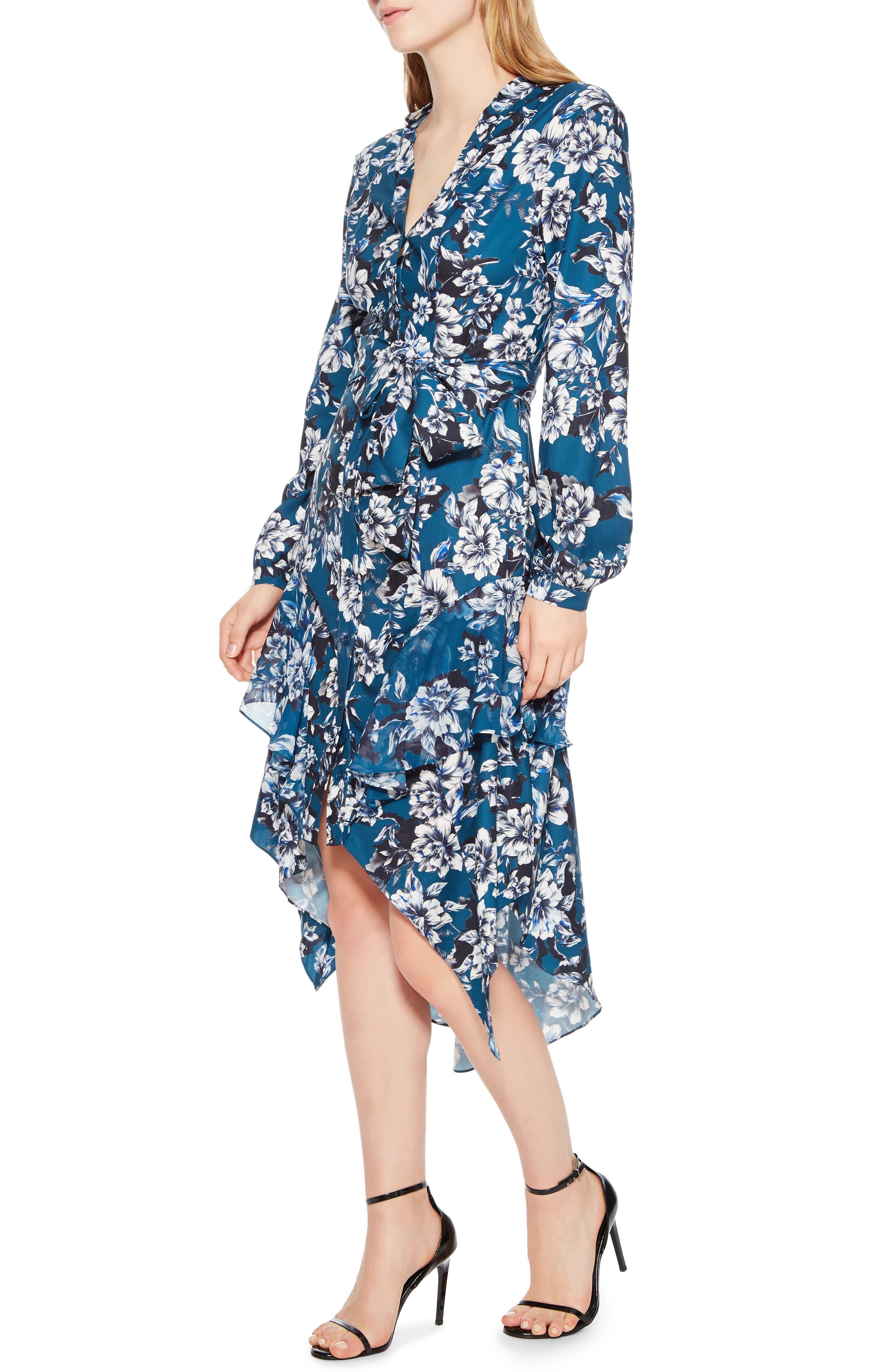 Estella Asymmetrical Floral Shirtdress,                             Alternate thumbnail 3, color,                             EVERGLADE GARDENS