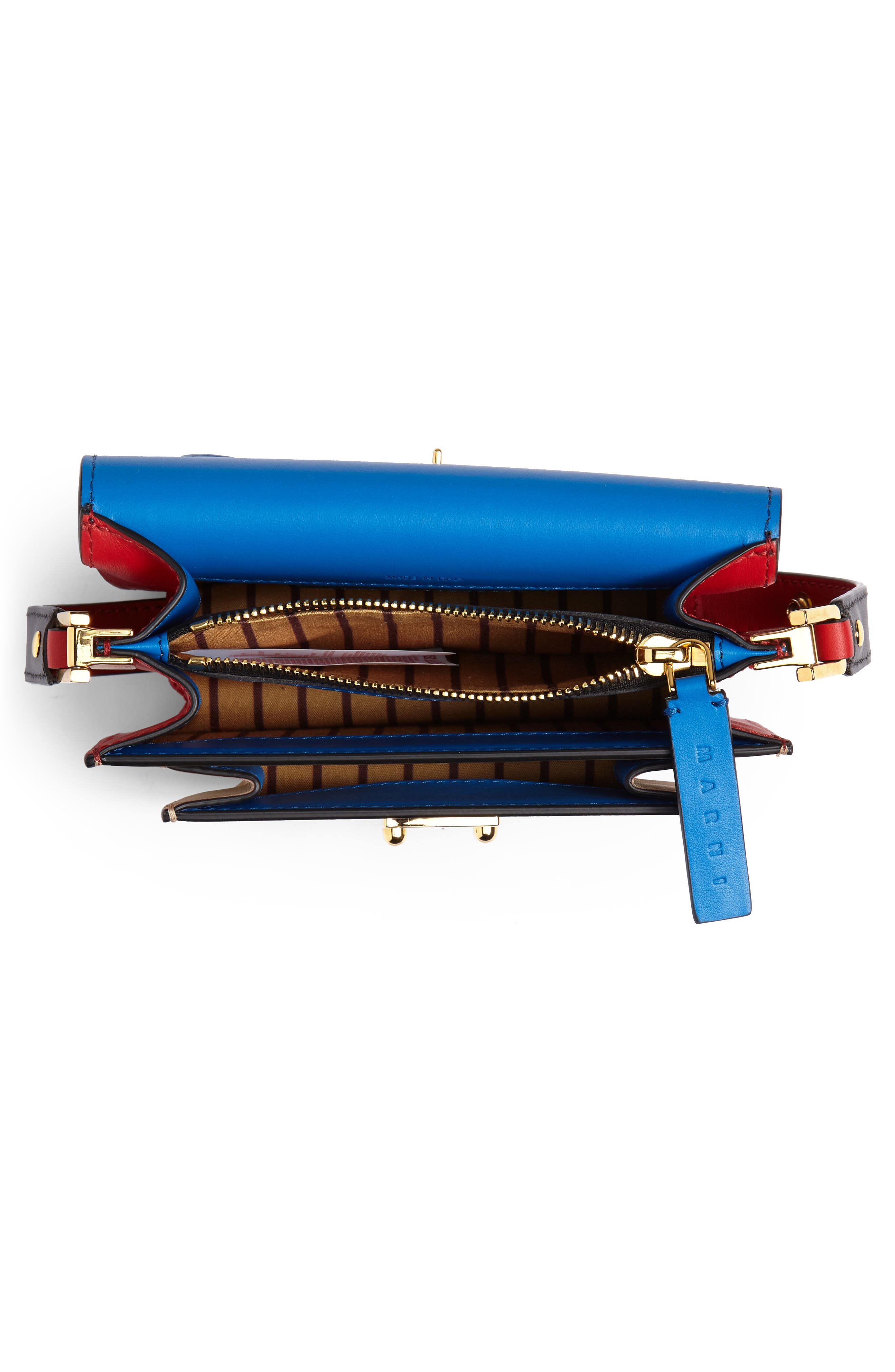 Small Trunk Colorblock Leather Shoulder Bag,                             Alternate thumbnail 4, color,                             LIGHT CAMEL/ BLACK/ RED