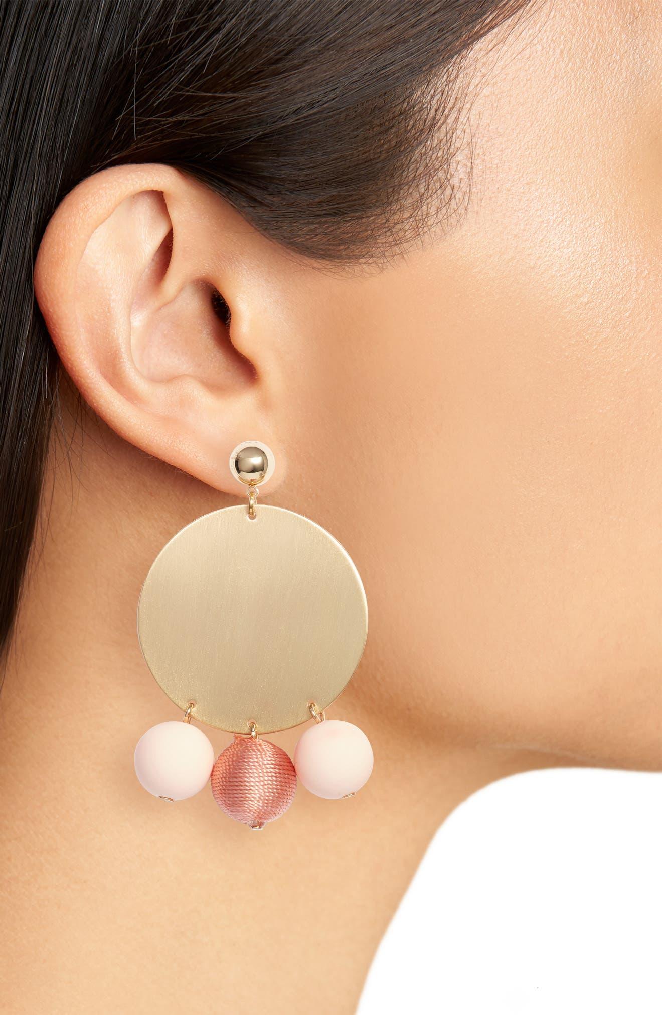 Threaded Sphere Statement Earrings,                             Alternate thumbnail 4, color,