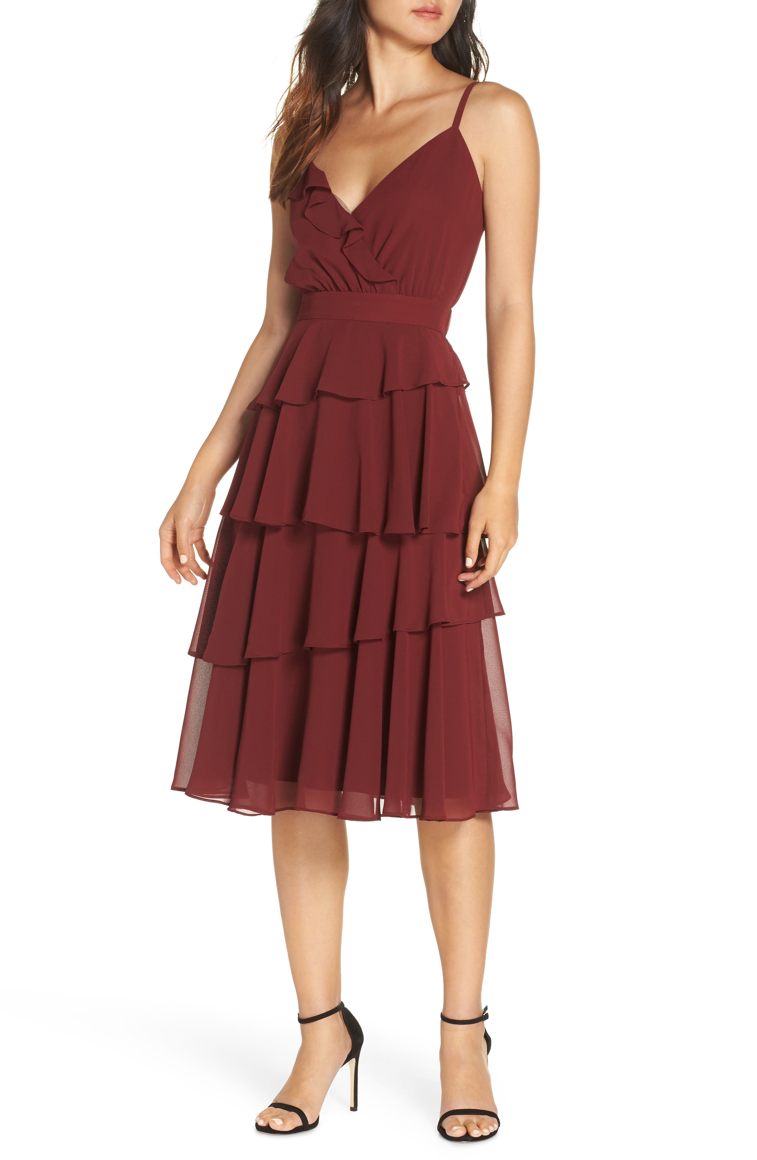Ali & Jay Love Is All Around Ruffle Tiered Dress, Burgundy