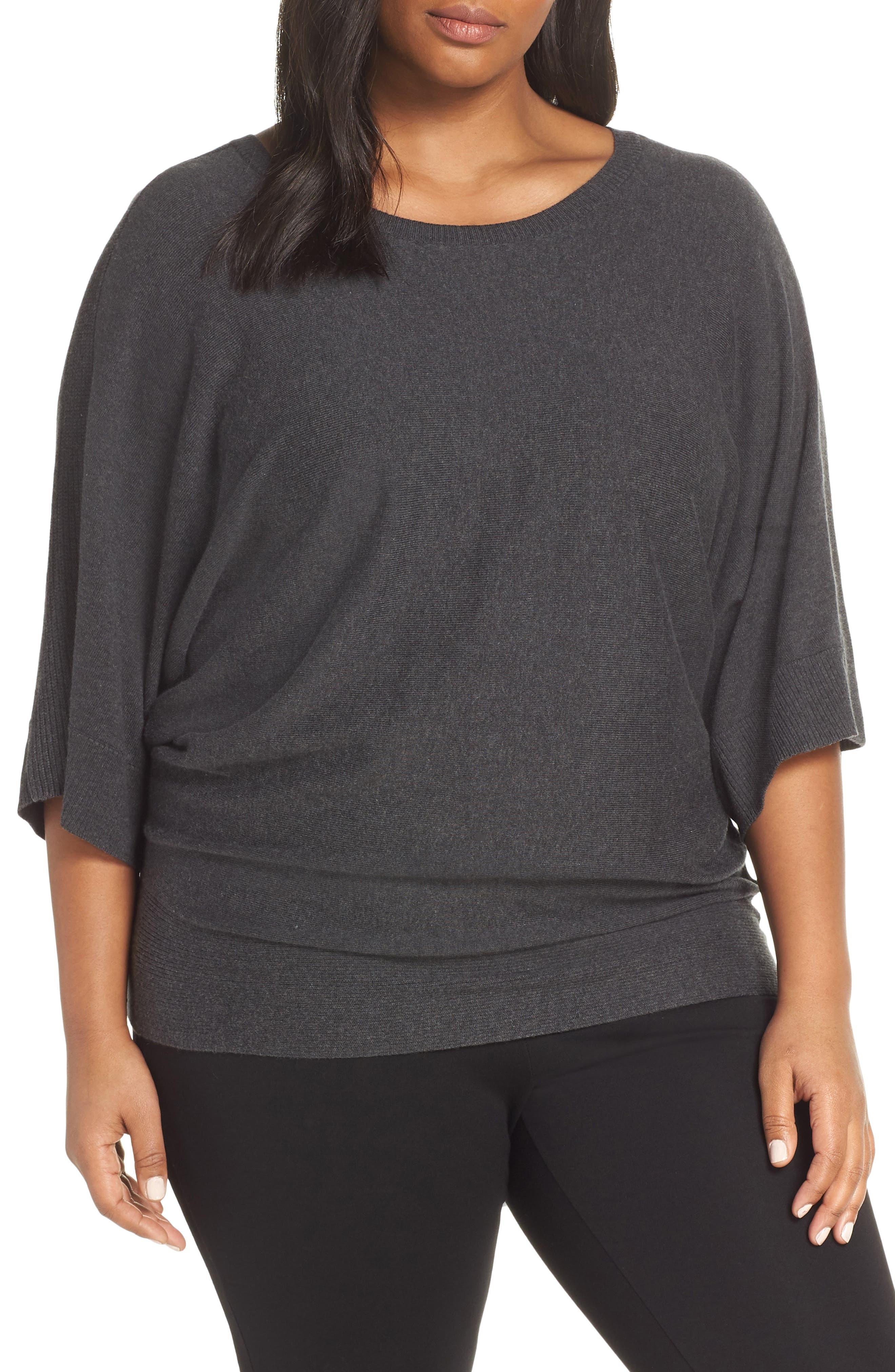 Cotton Blend Kimono Sweater,                             Main thumbnail 1, color,                             GREY DARK CHARCOAL HEATHER