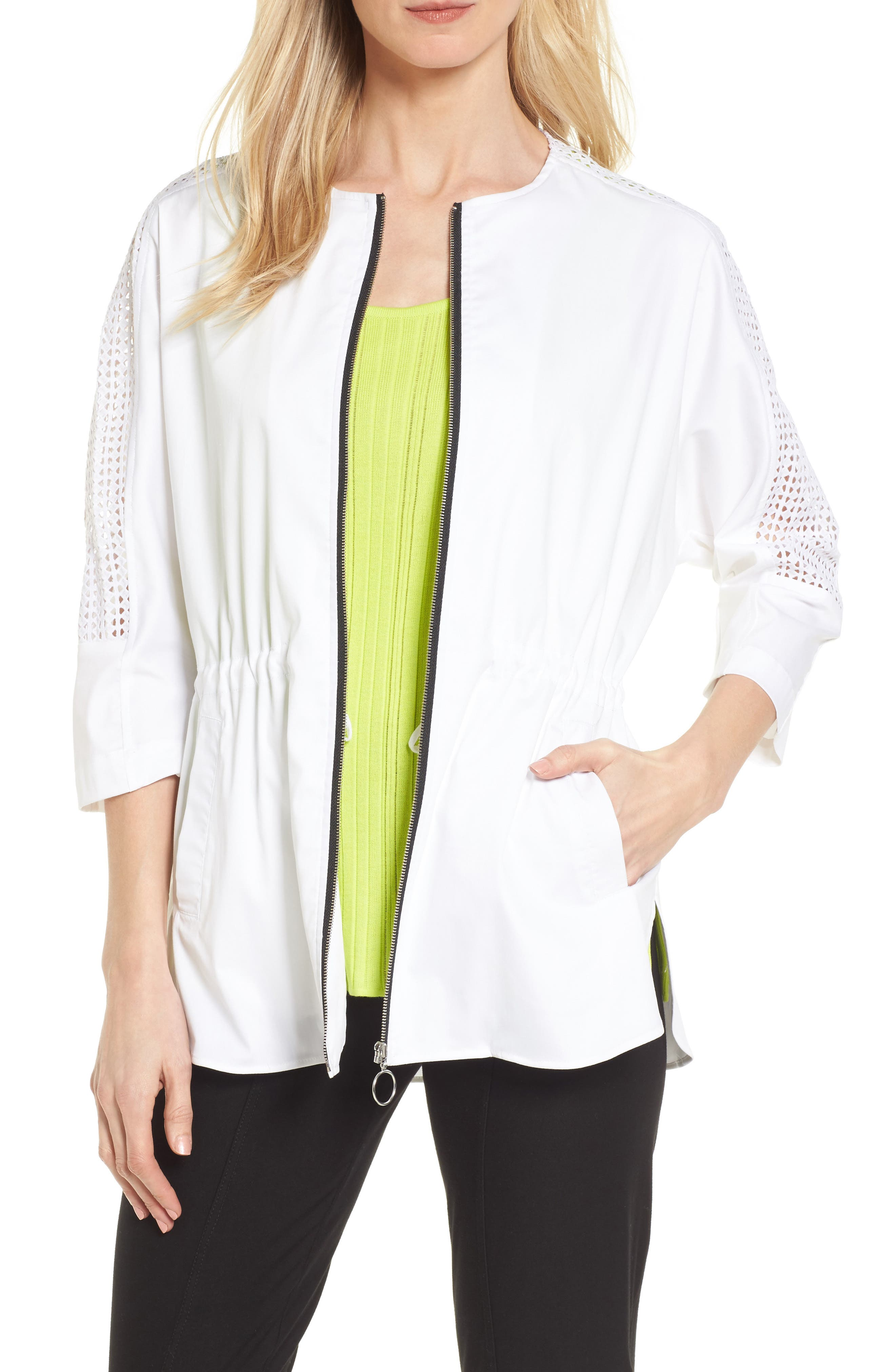Eyelet Sleeve Front Zip Jacket,                             Main thumbnail 1, color,                             WHITE/ BLACK