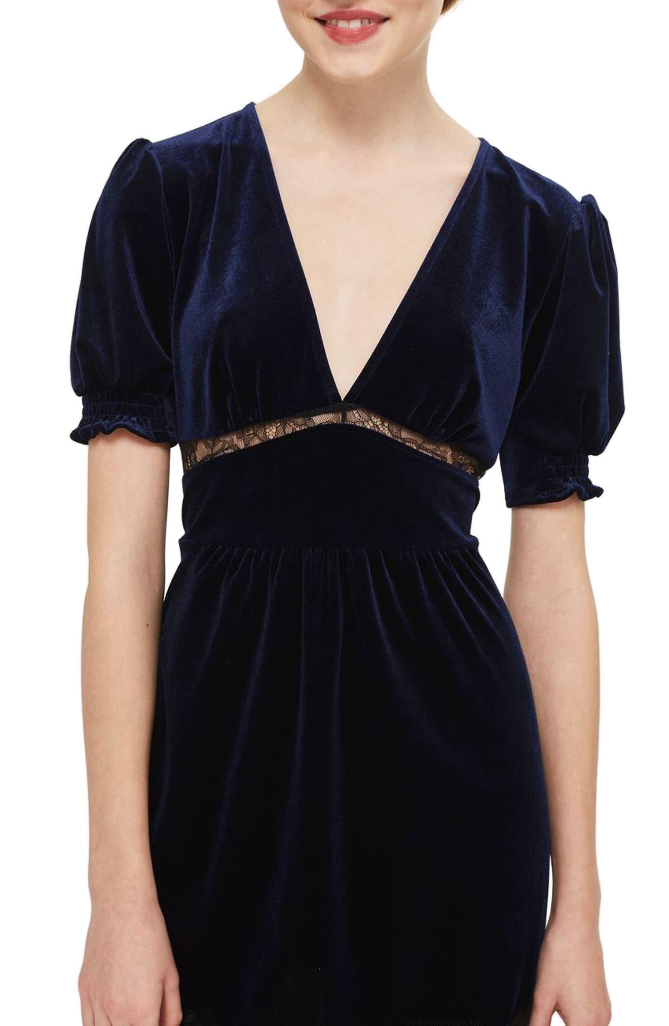 Velvet & Lace Puff Sleeve Midi Dress,                             Alternate thumbnail 3, color,