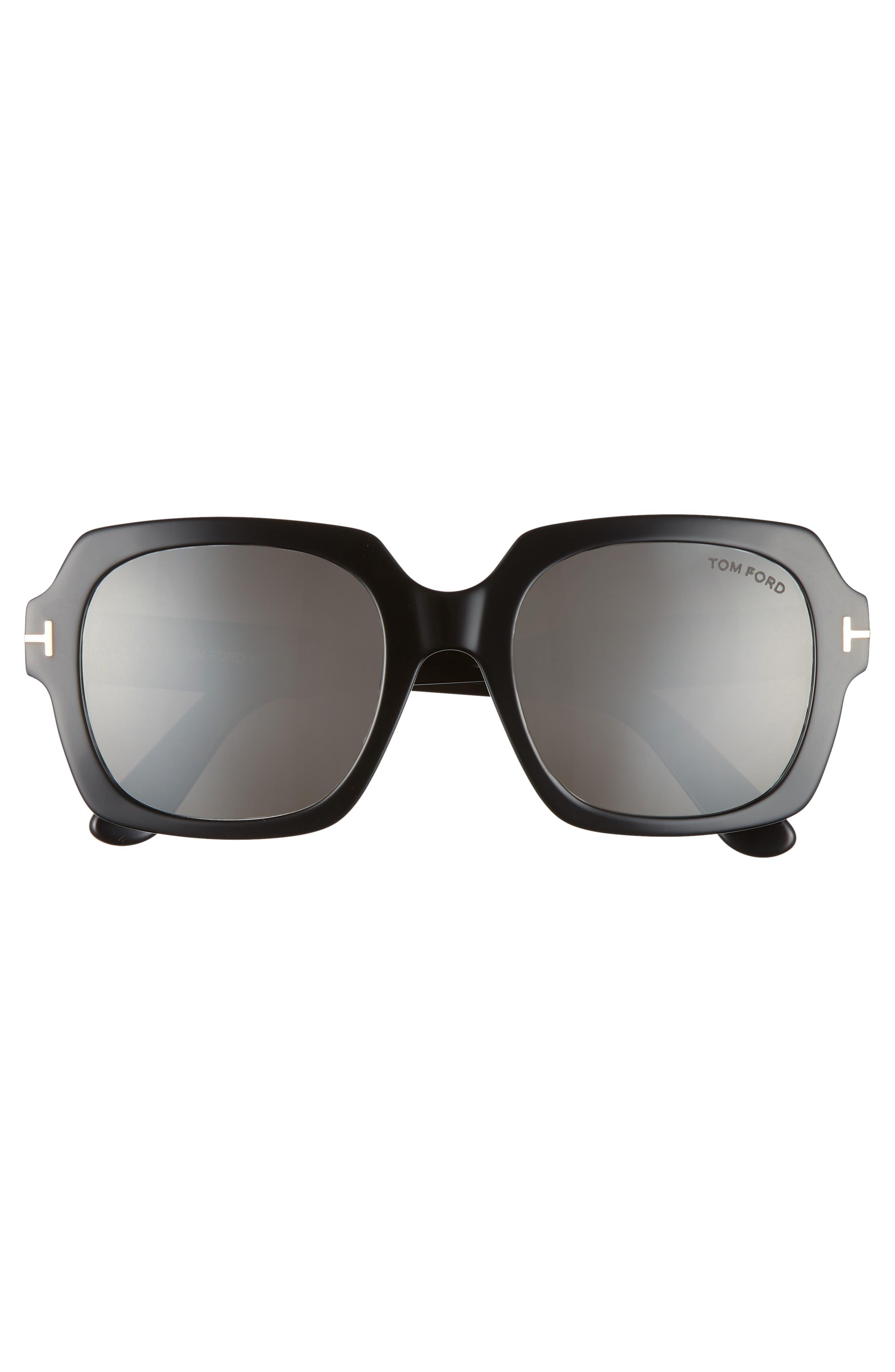 Autumn 53mm Square Sunglasses,                             Alternate thumbnail 3, color,                             BLACK/ SMOKE/ SILVER FLASH