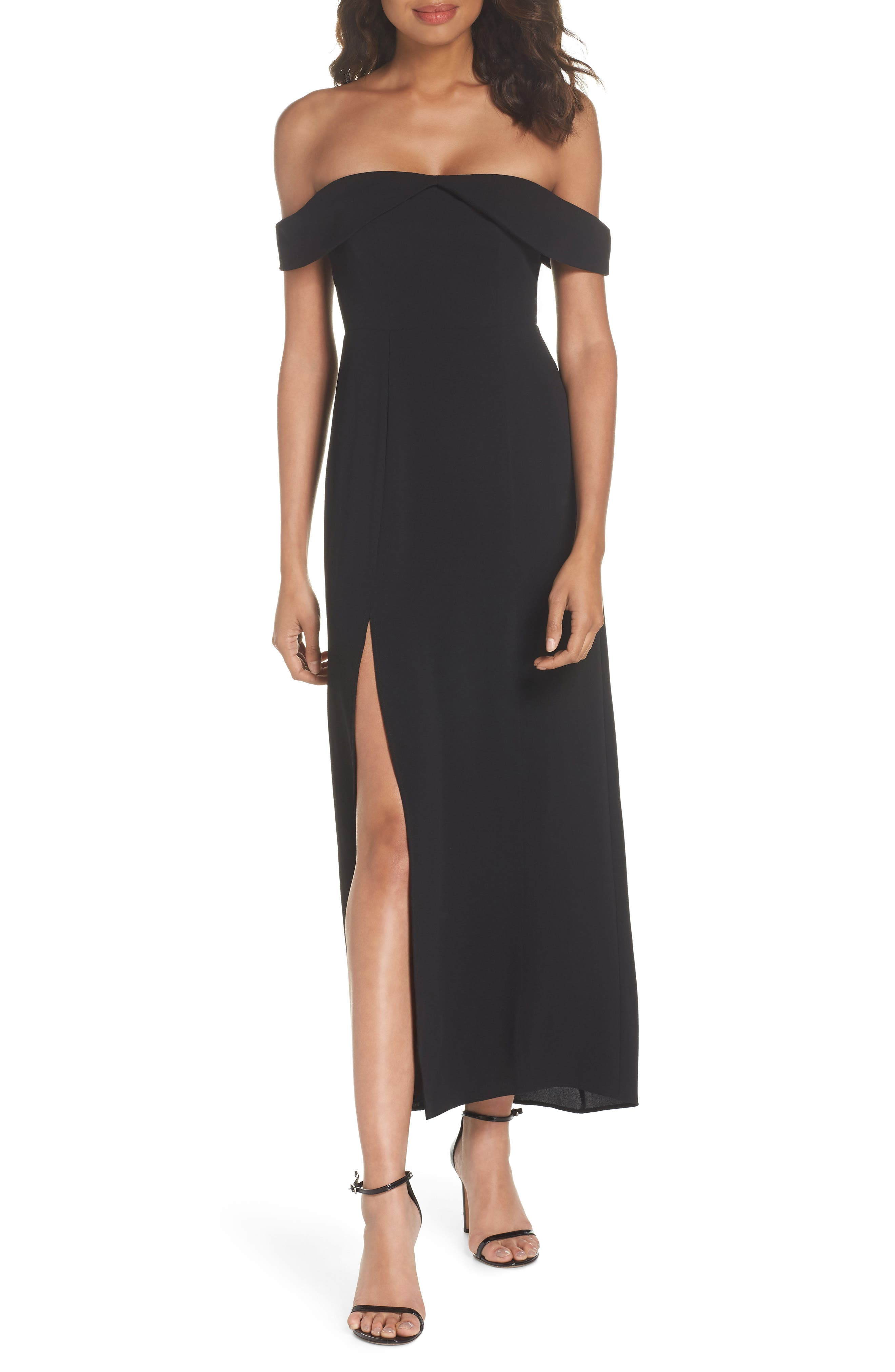 Upton Off the Shoulder Gown,                             Main thumbnail 1, color,                             BLACK CRINKLE STRETCH