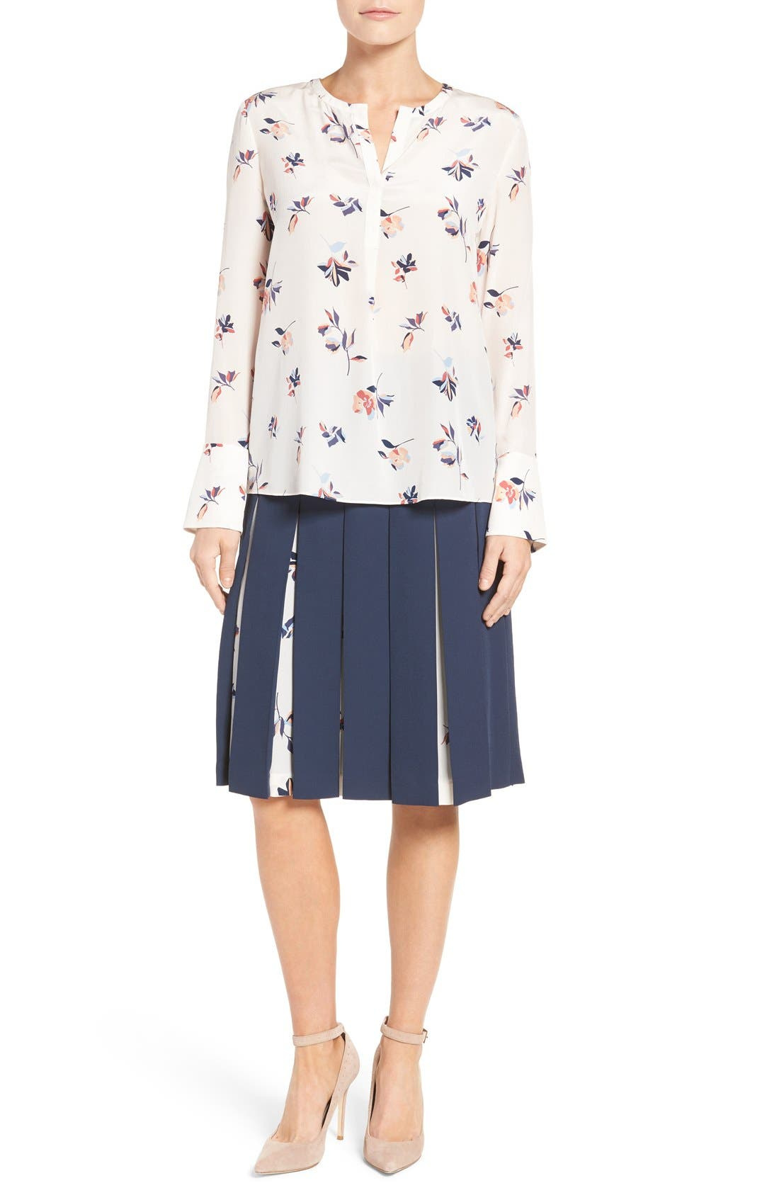 Print Mix Pleated Skirt,                             Alternate thumbnail 8, color,                             410
