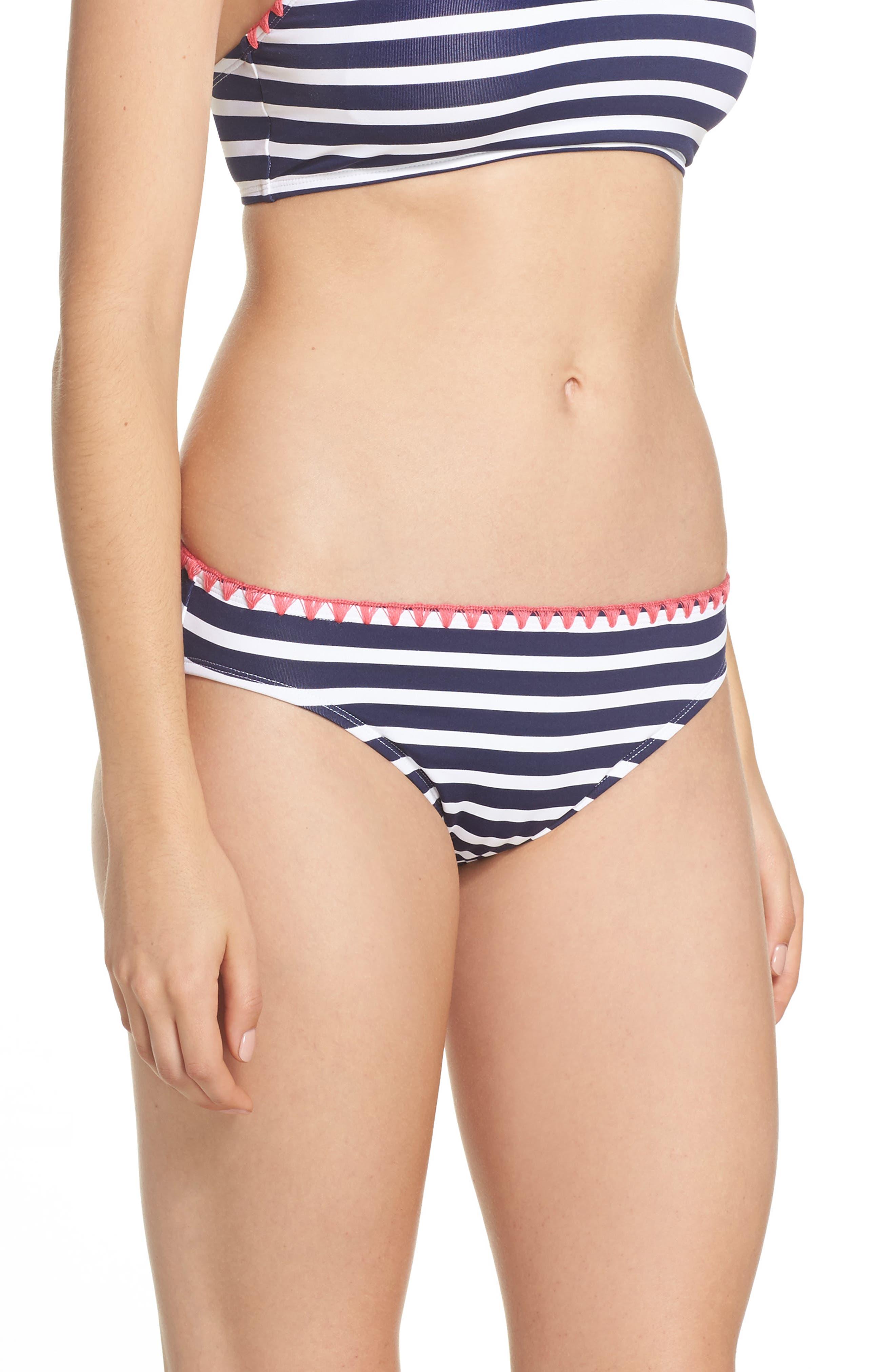 Breton Stripe Bikini Bottoms,                             Alternate thumbnail 3, color,                             400
