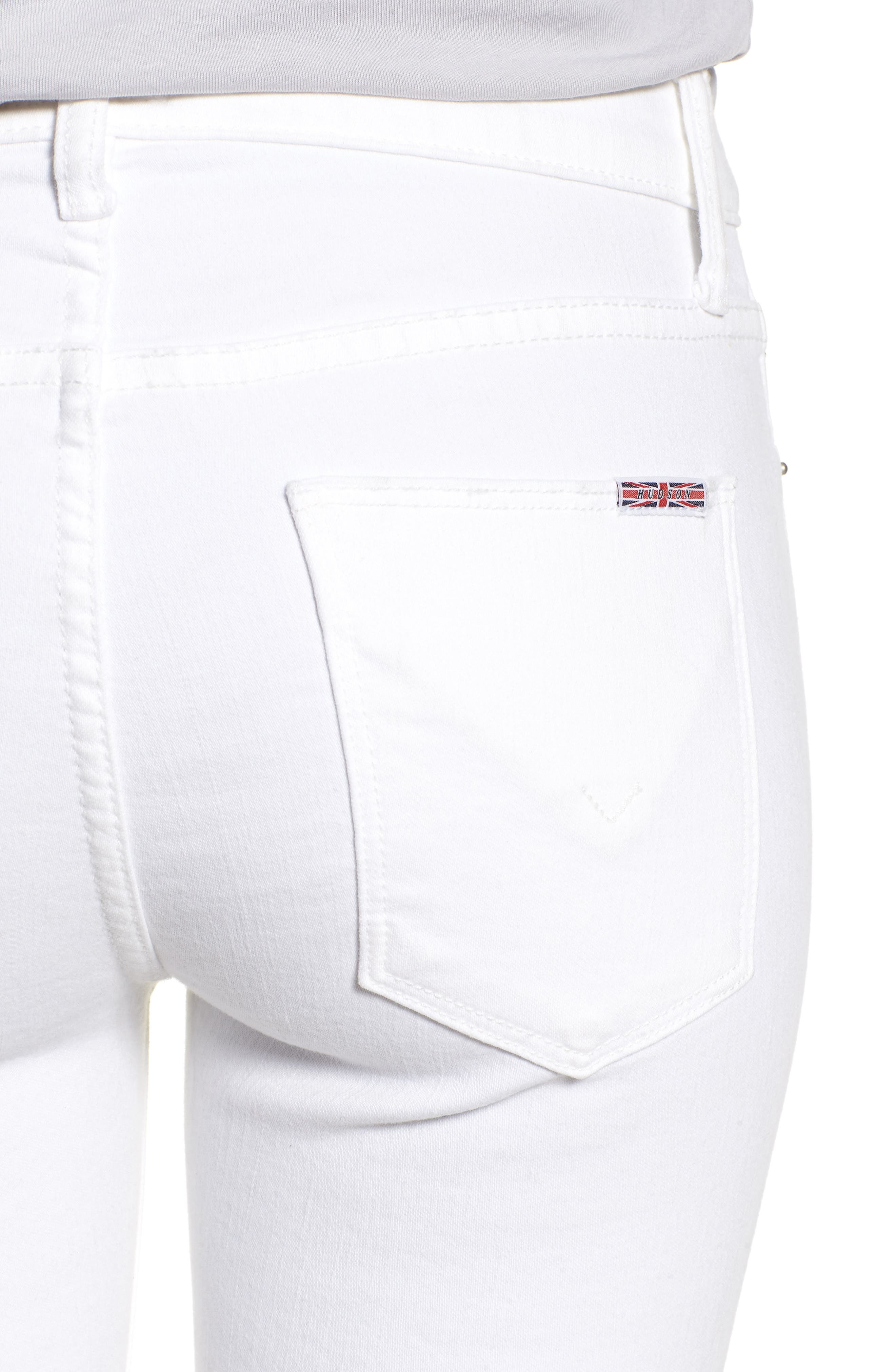Amelia Cutoff Knee Shorts,                             Alternate thumbnail 4, color,                             OPTICAL WHITE