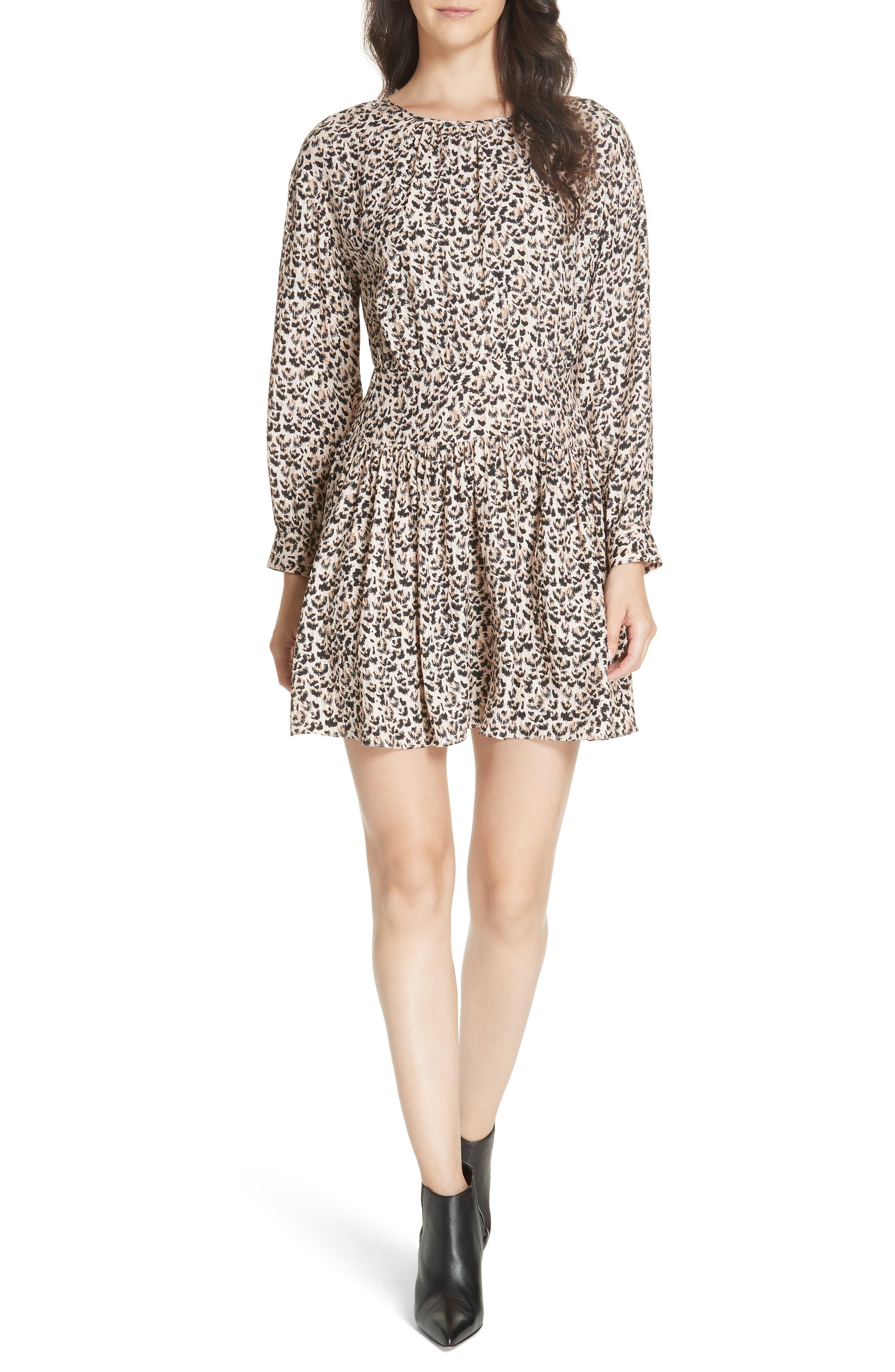 Leopard Print Silk Dress,                         Main,                         color, CARAMEL COMBO