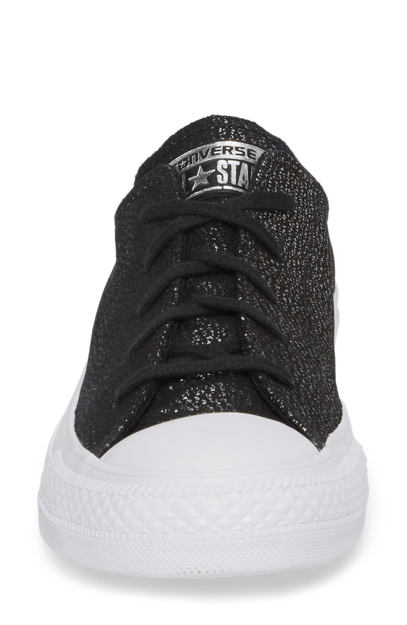 Chuck Taylor<sup>®</sup> All Star<sup>®</sup> Tipped Metallic Low Top Sneaker,                             Alternate thumbnail 4, color,                             001